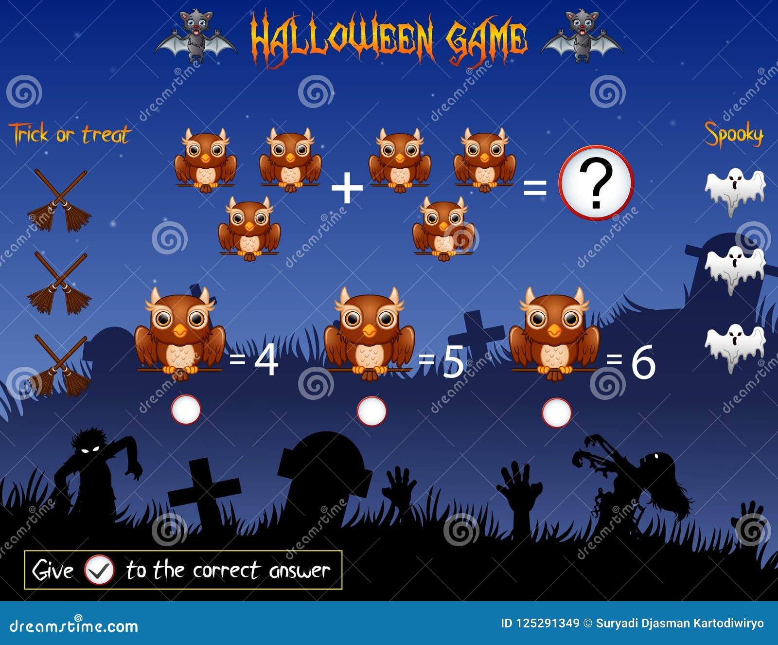 Halloween Thema.Het Spel Telt De Uil In Het Halloween Thema Vector