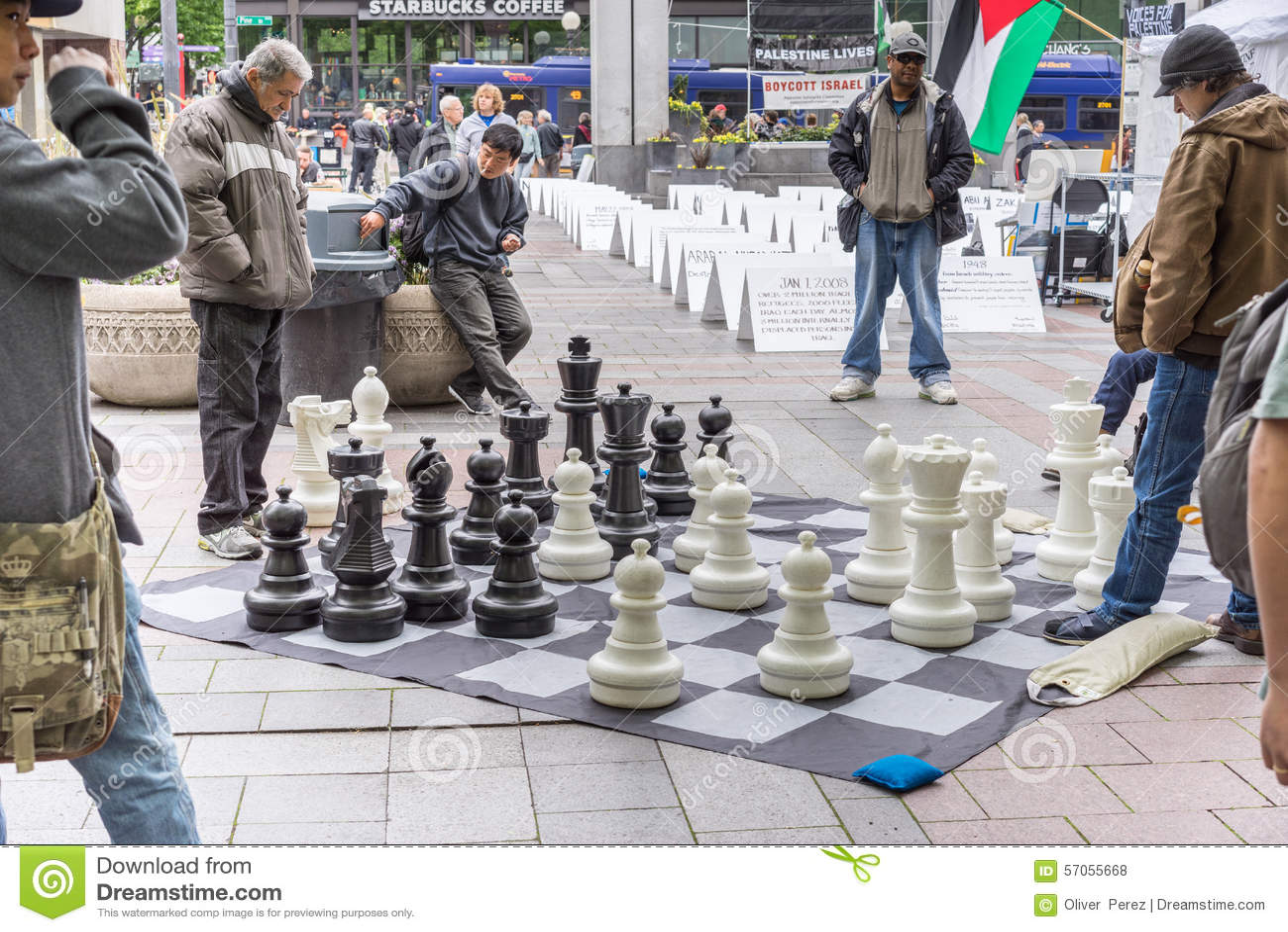 Het spelen schaak bij het park