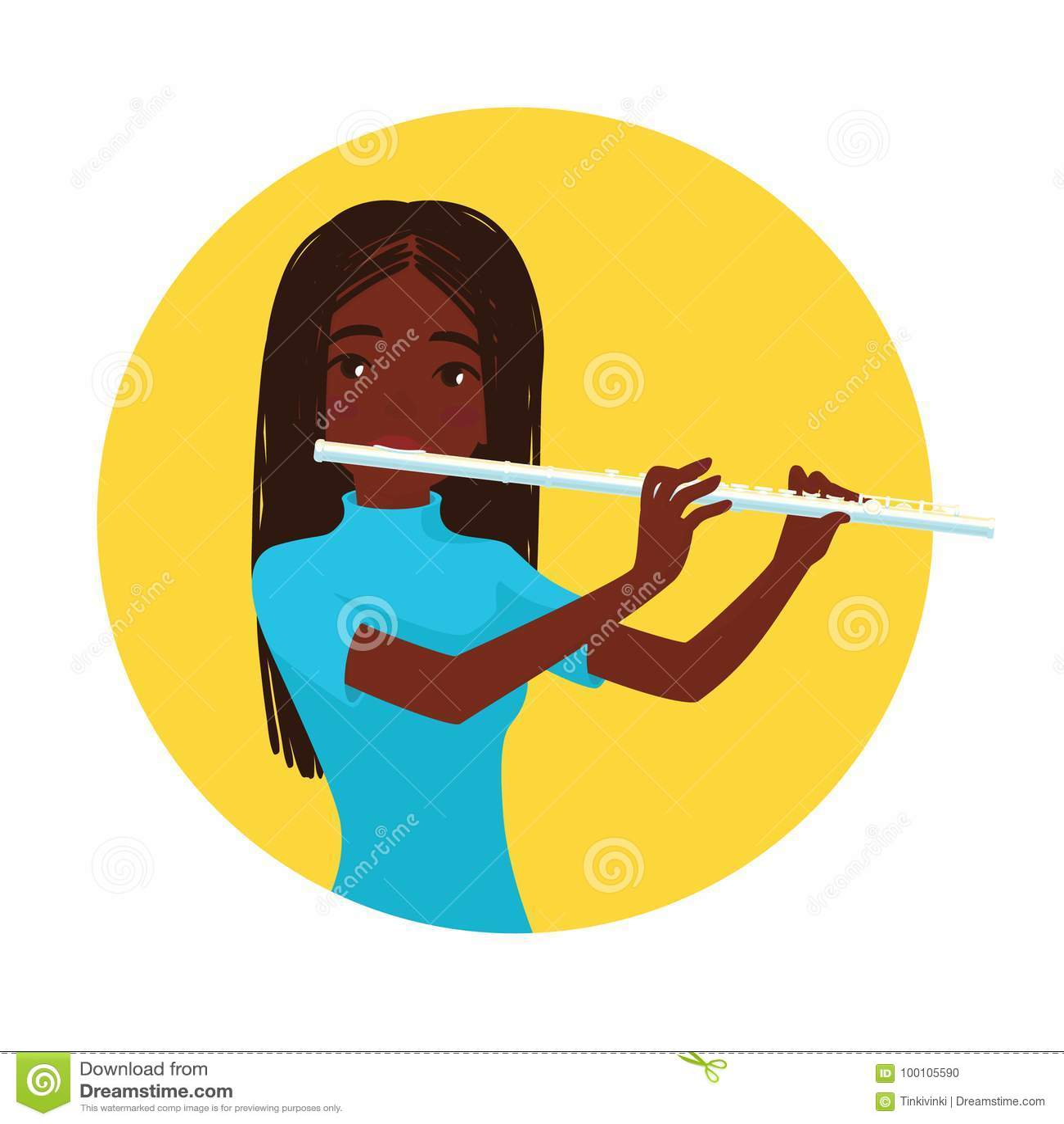 Het Spelen van de musicus Fluit De meisjesfluitist wordt geïnspireerd om een klassiek muzikaal instrument te spelen Vector