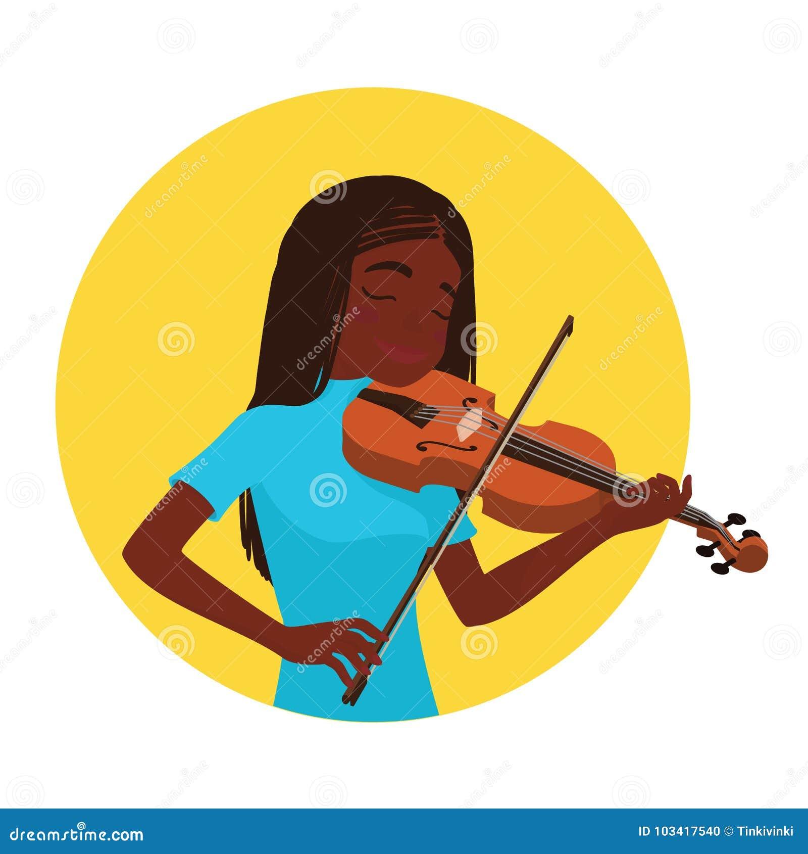 Het spelen van de musicus viool De meisjesviolist wordt geïnspireerd om een klassiek muzikaal instrument te spelen Vector