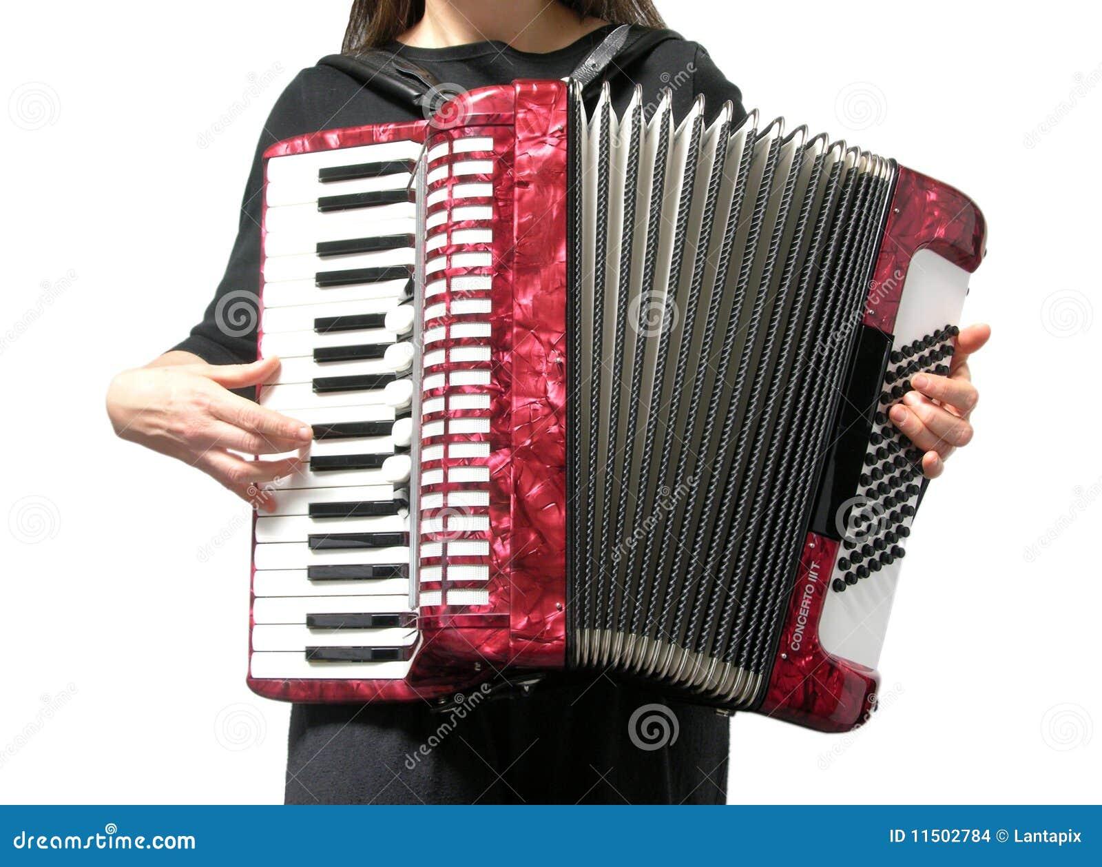 Het spelen van de vrouw harmonika op wit