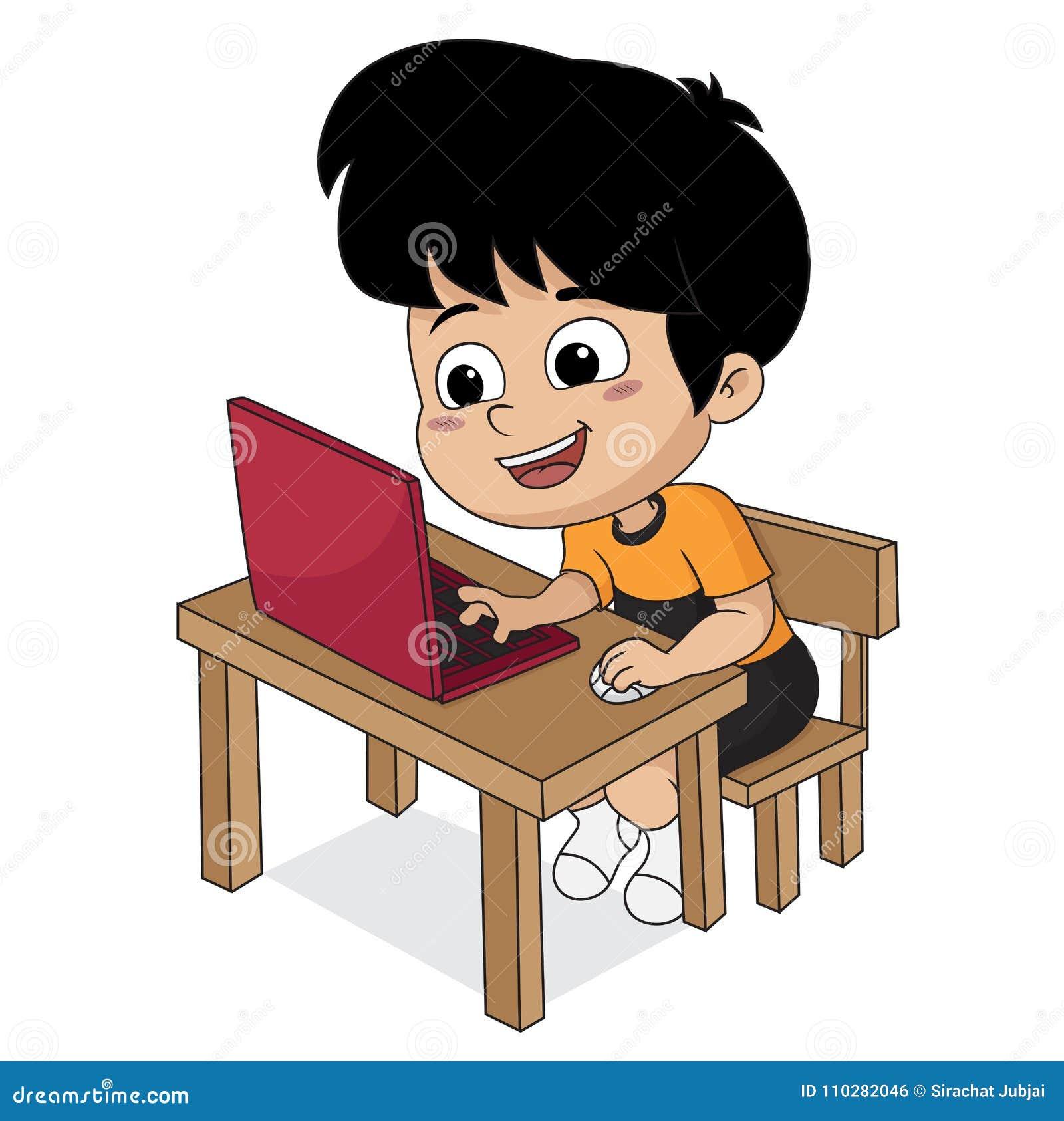 Het spelen van het jonge geitje computer Vector en illustratie