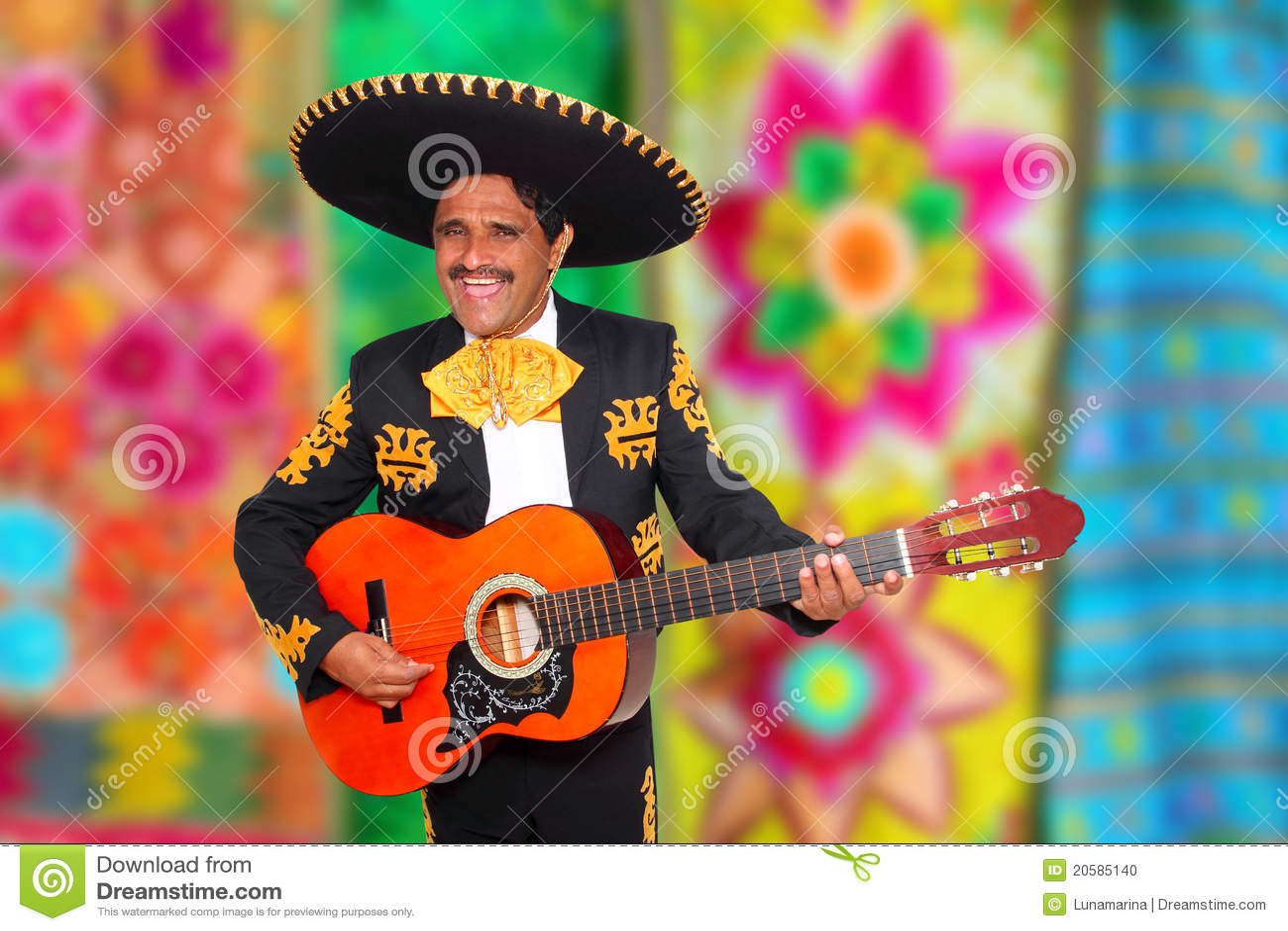 Het spelen van Mariachi van Charro gitaar serape poncho