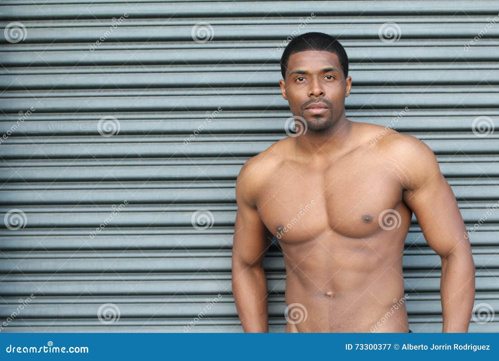 Het Spier Jonge Sexy Natte Naakte Leuke Afrikaanse Mens
