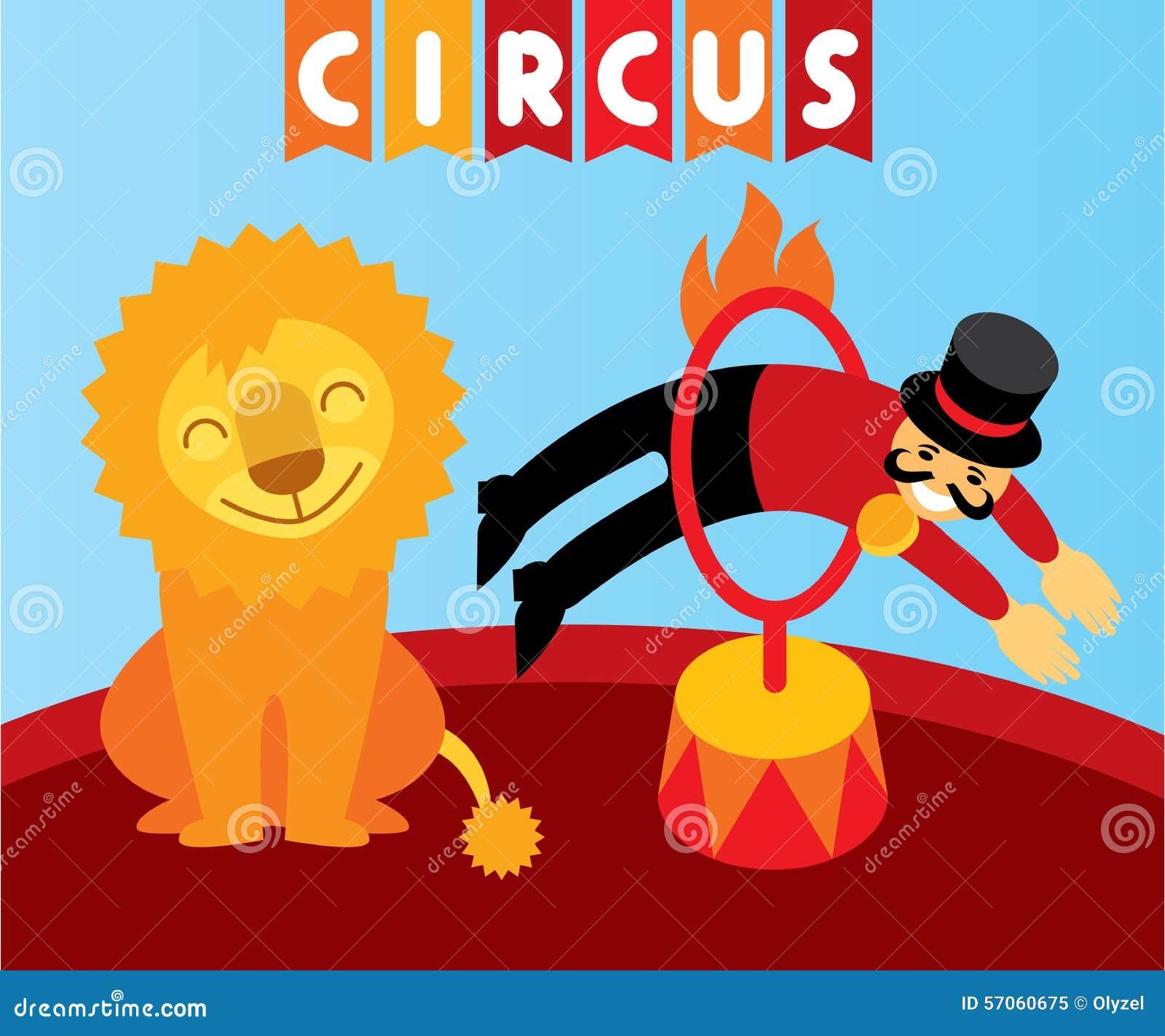 Het springen leeuw in circus Dierlijke trainer en leeuw