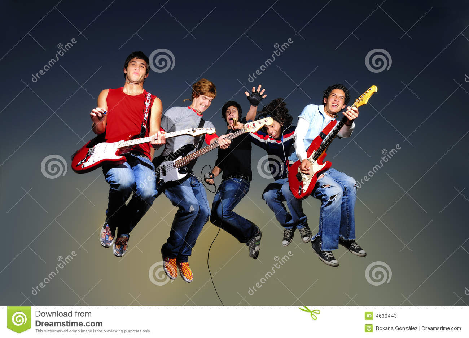 Het springen van de popgroep