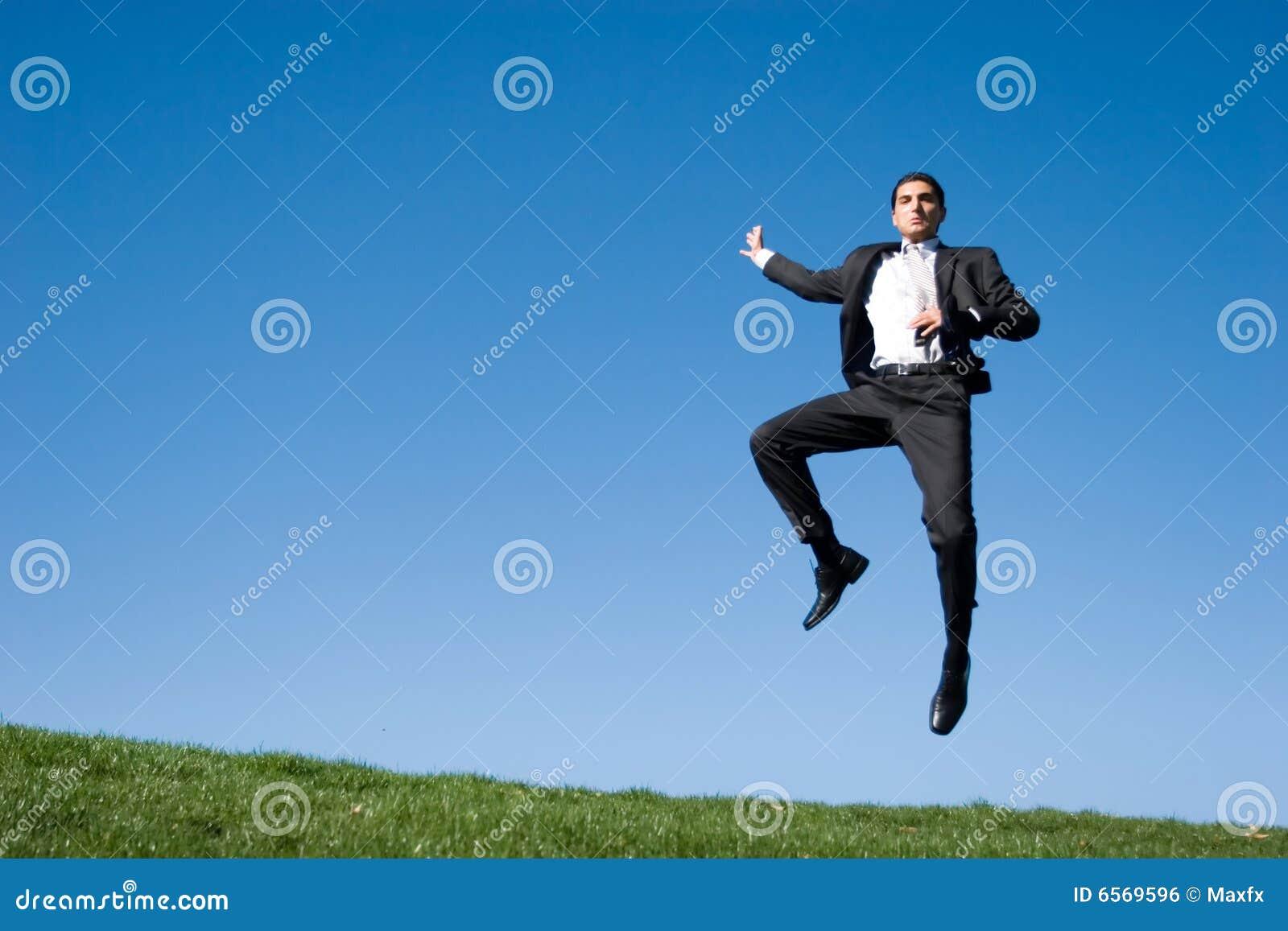 Het springen van de zakenman