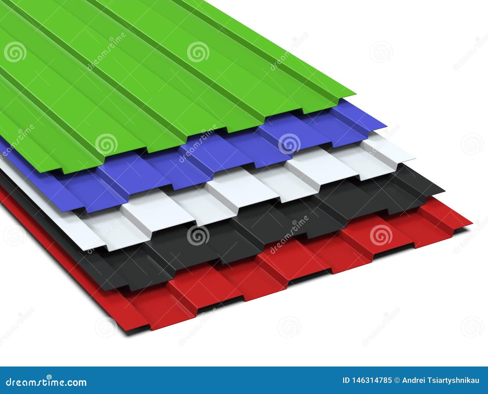 Het staal profileerde multi-colored bladen die in een stapel worden gestapeld Verkoop van staalassortiment het 3d teruggeven