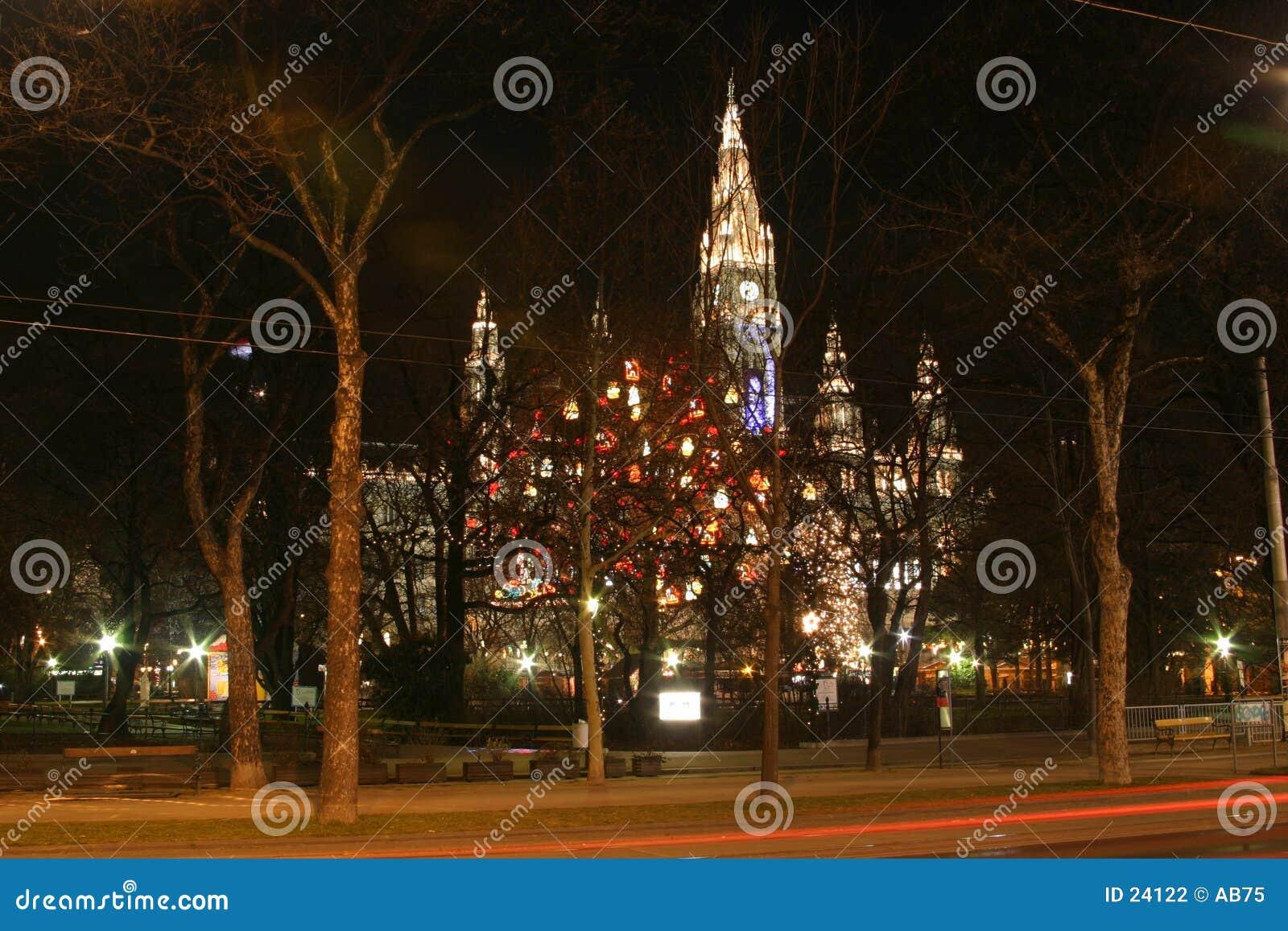 Het stadhuis van Wenen in de nacht, de tijd van Kerstmis