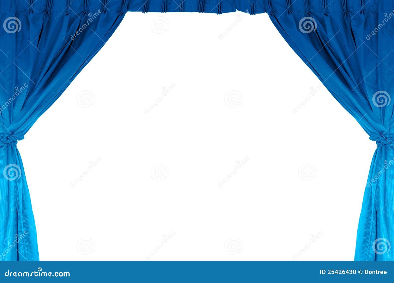 Het stadium van het theater met blauw gordijn