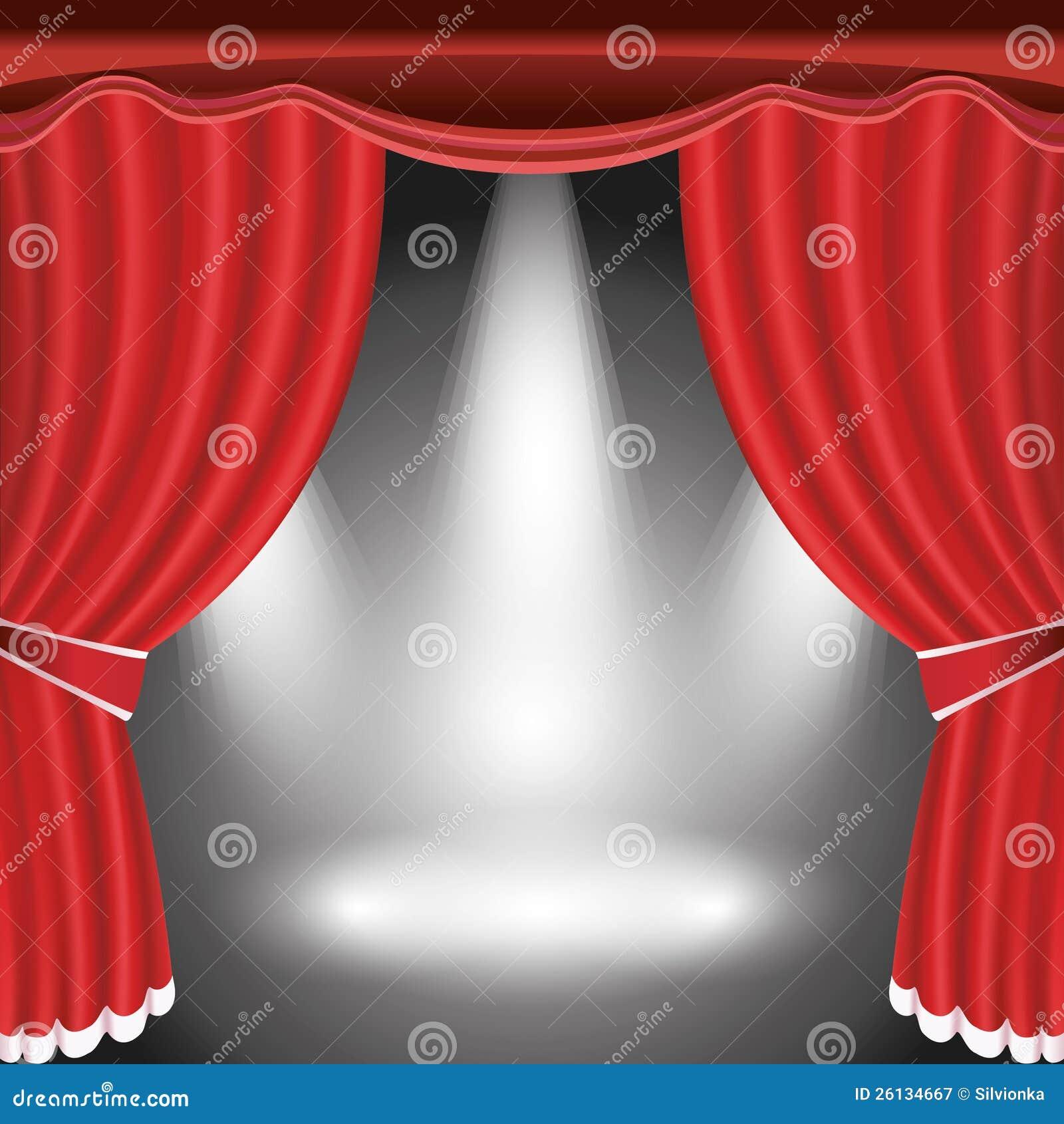 het stadium van het theater met open rode gordijn en schijnwerper