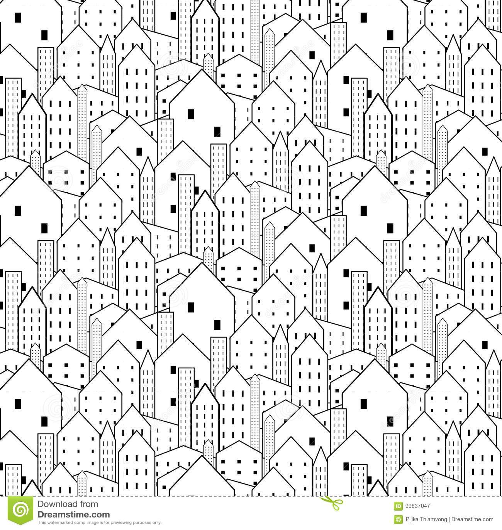 Is het stads naadloze patroon in zwart-wit herhaalde textuur