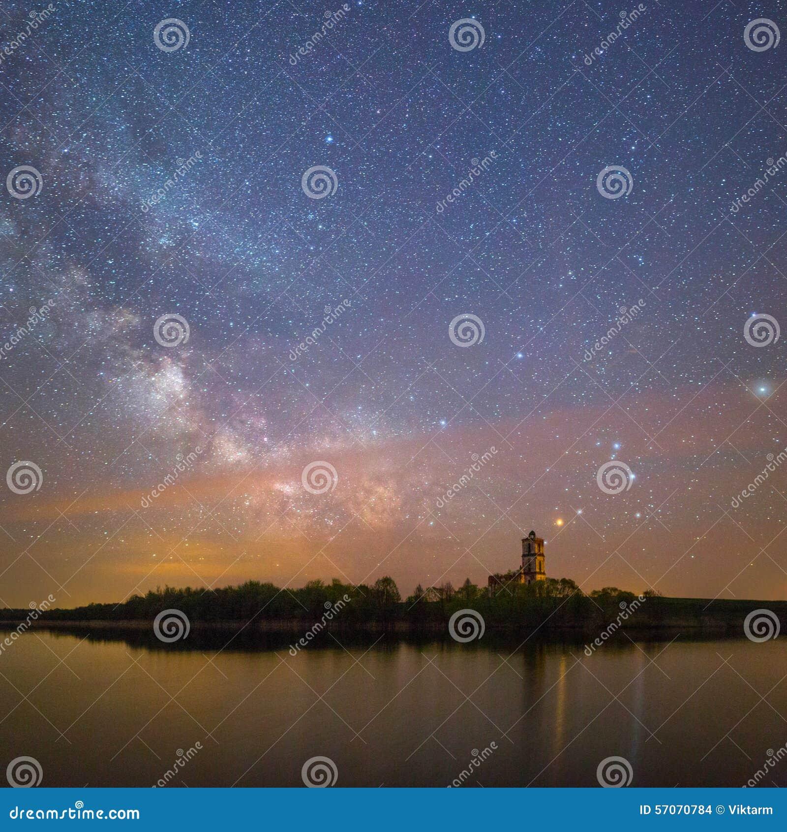Het sterrige landschap van de Nacht