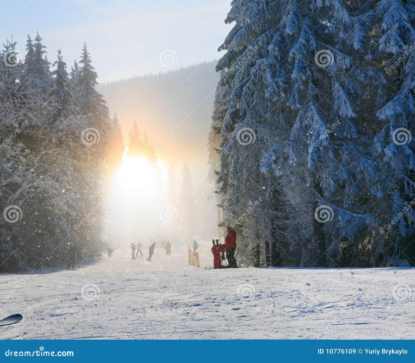 Het stof van de sneeuw verblindt het glanzen op de winter het skiån helling
