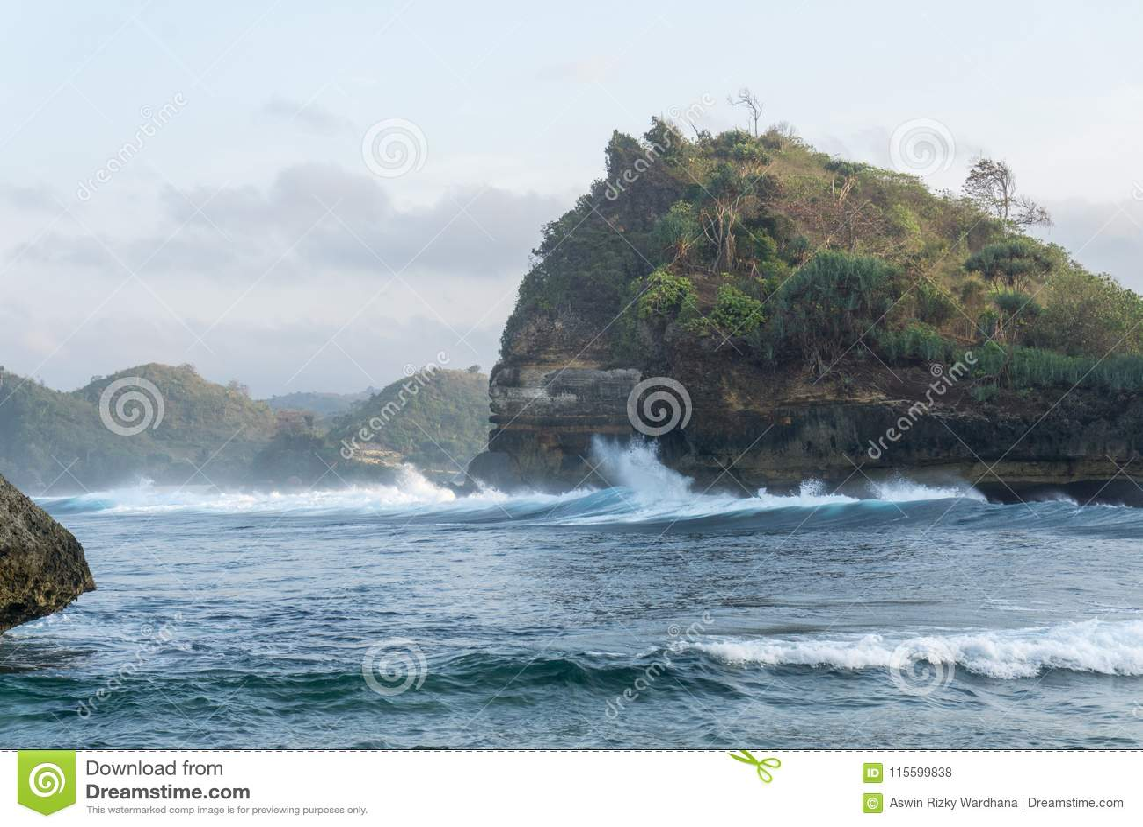 Het Strand Malang Indonesië van Batubengkung