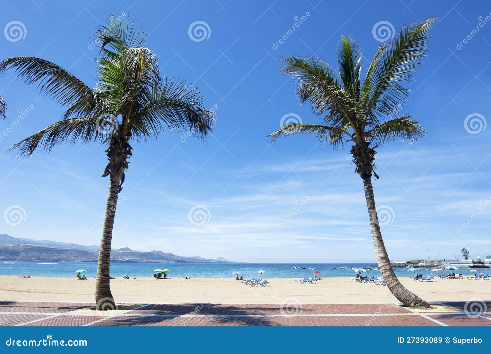 Het strand van Canteras, Las Palmas DE Gran Canaria, Spanje