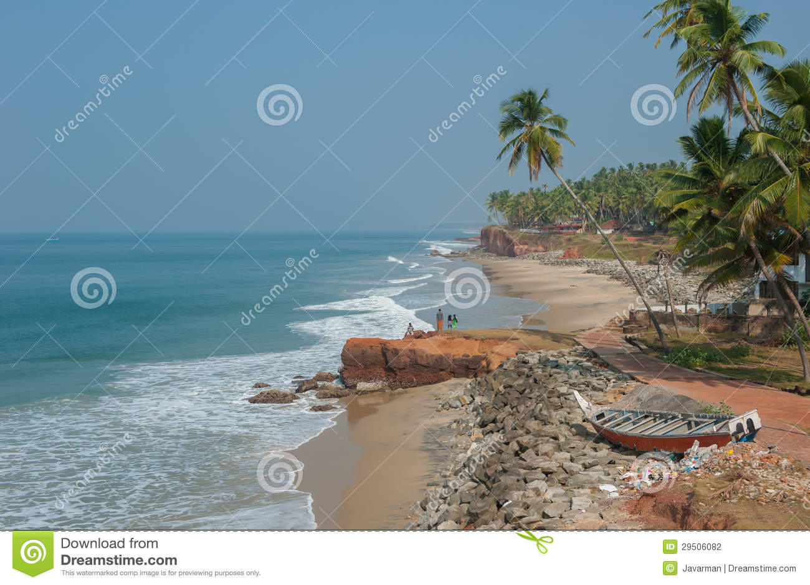 Het strand van Varkala, Kerala, India