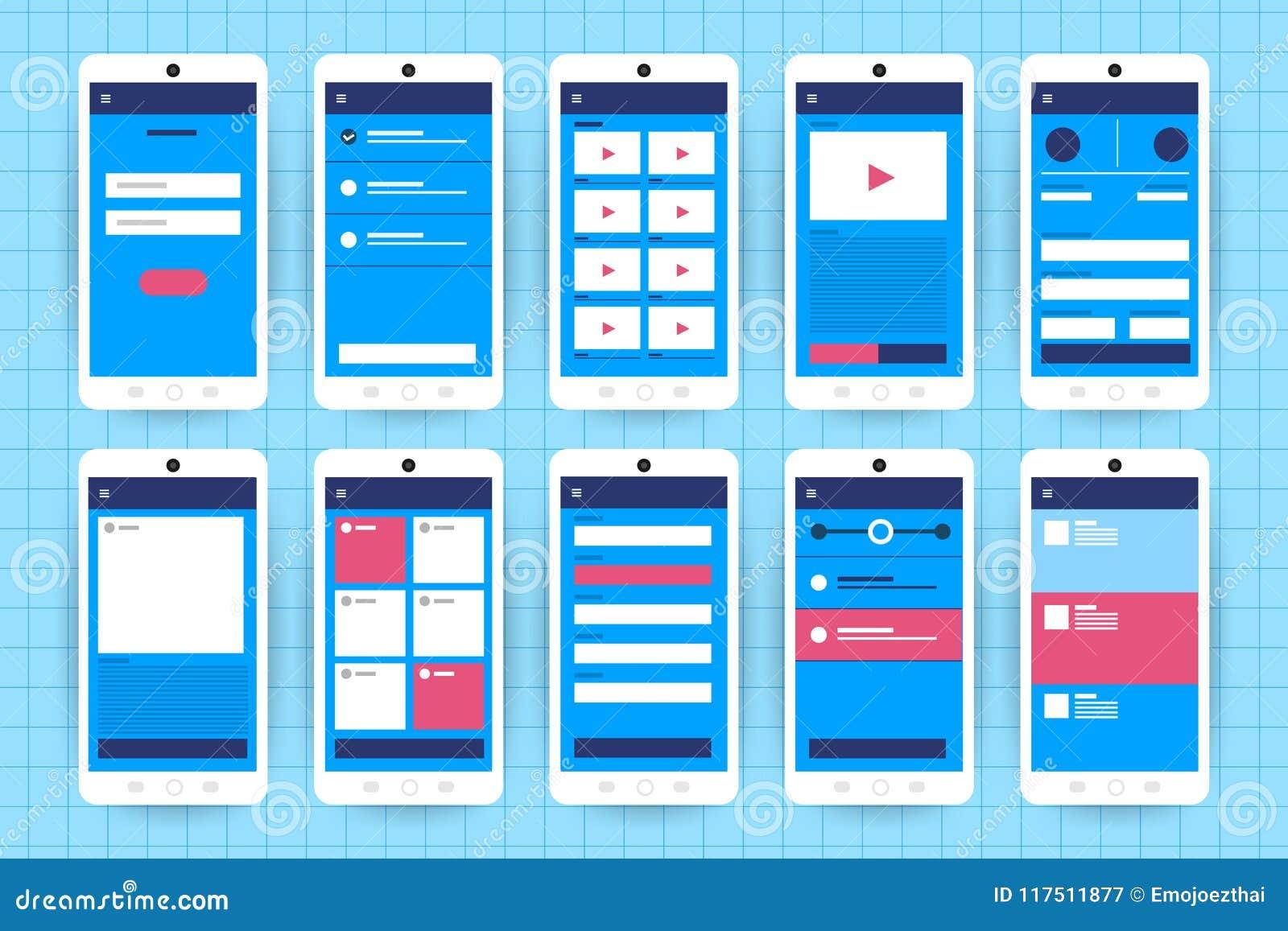 Het Stroomschema van UX UI Het concepten vlakke desig van de modellen mobiele toepassing