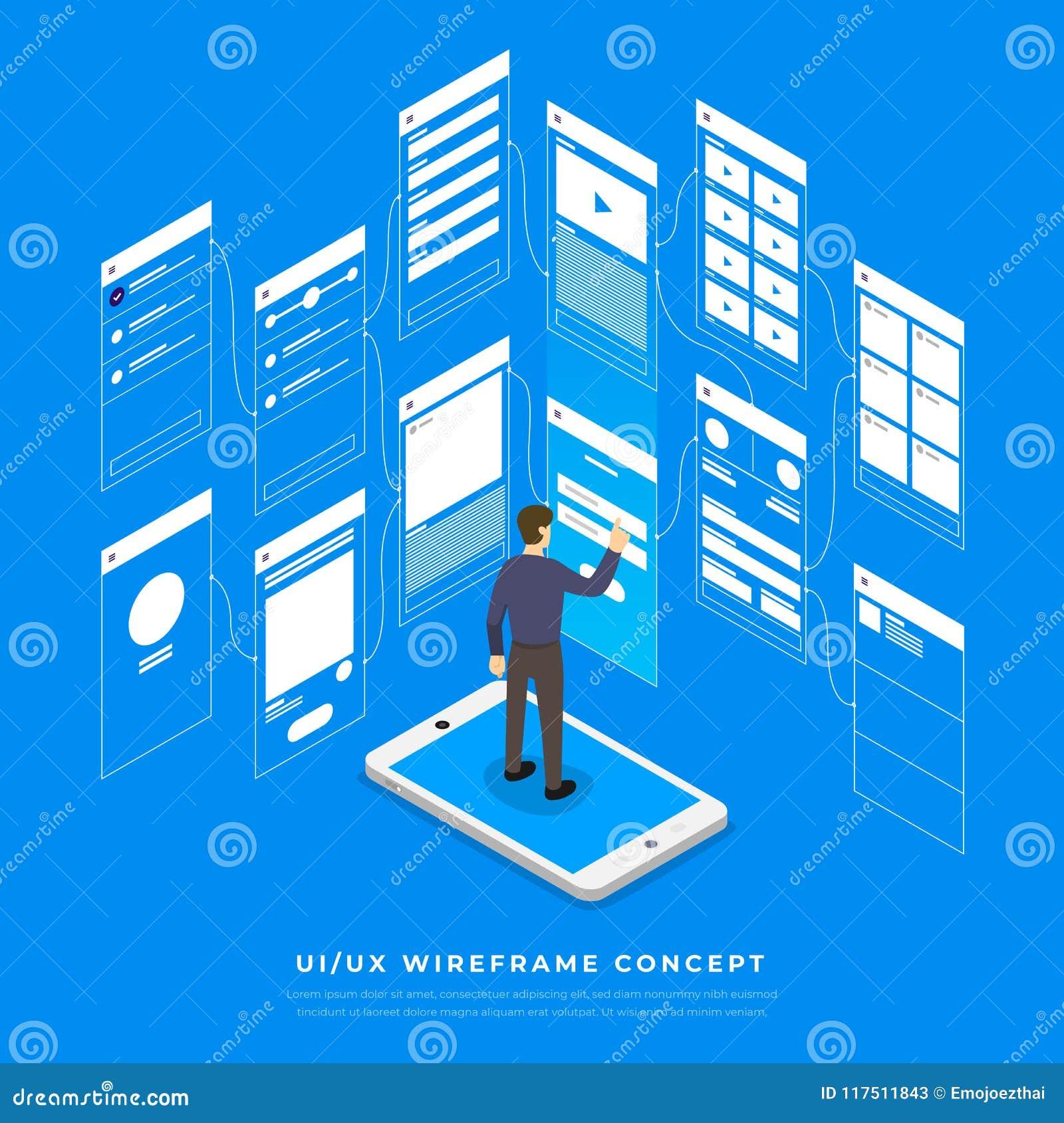 Het Stroomschema van UX UI Isometrische concept van de modellen het mobiele toepassing