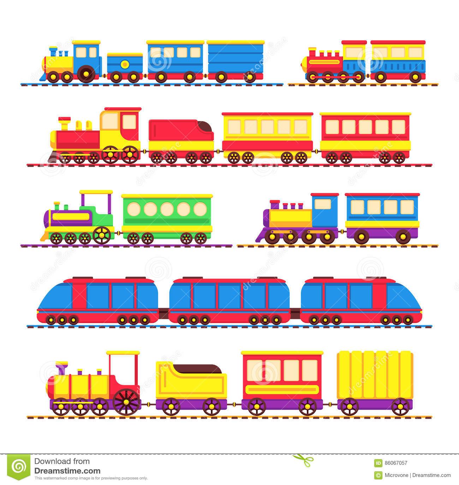 Het stuk speelgoed van beeldverhaaljonge geitjes treinen, locomotief en wagens vectorreeks
