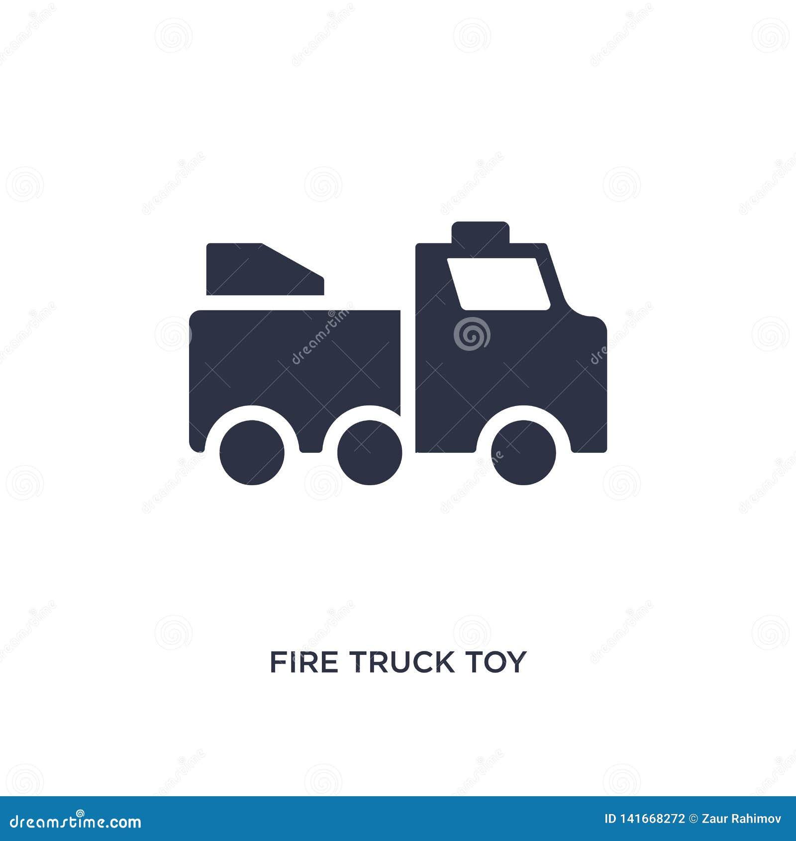 Het stuk speelgoed van de brandvrachtwagen pictogram op witte achtergrond Eenvoudige elementenillustratie van speelgoedconcept
