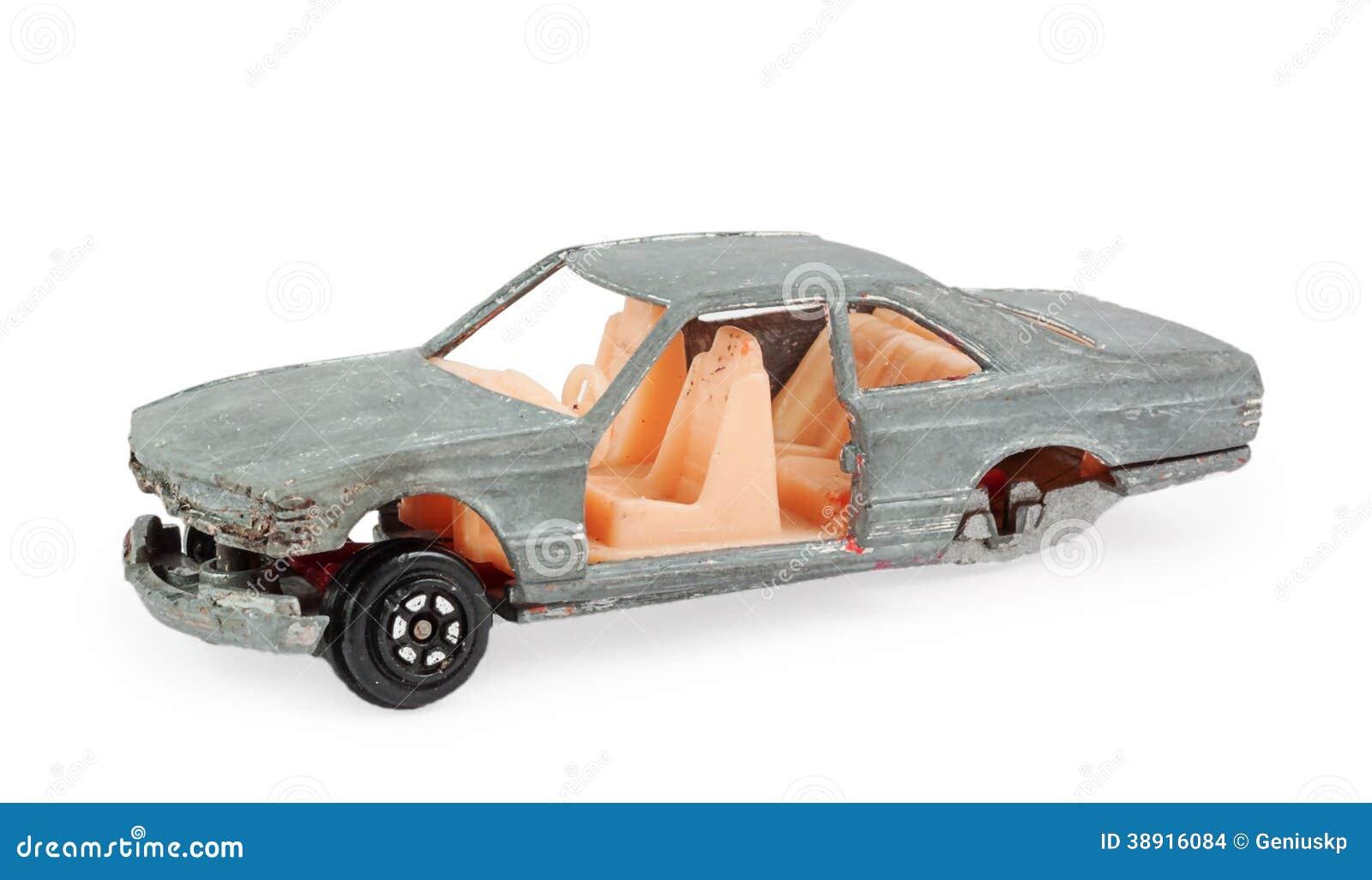 Het stuk speelgoed van gebroken grijze kinderen automodel