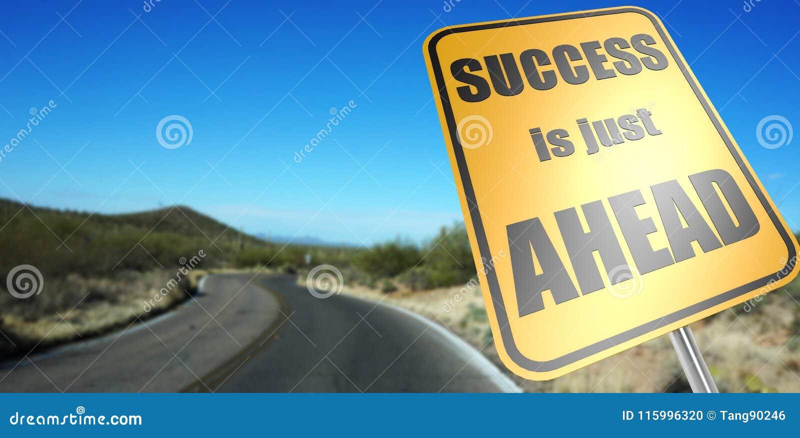 Het succes is enkel vooruit verkeersteken