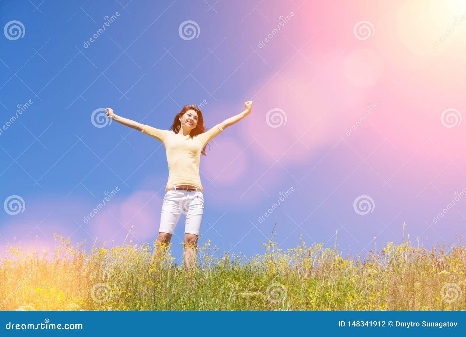 Het succesconcept van de mensenvrijheid Gelukkige vrouwendromen om op winden te vliegen Landschap van gras en bloem de zomergebie