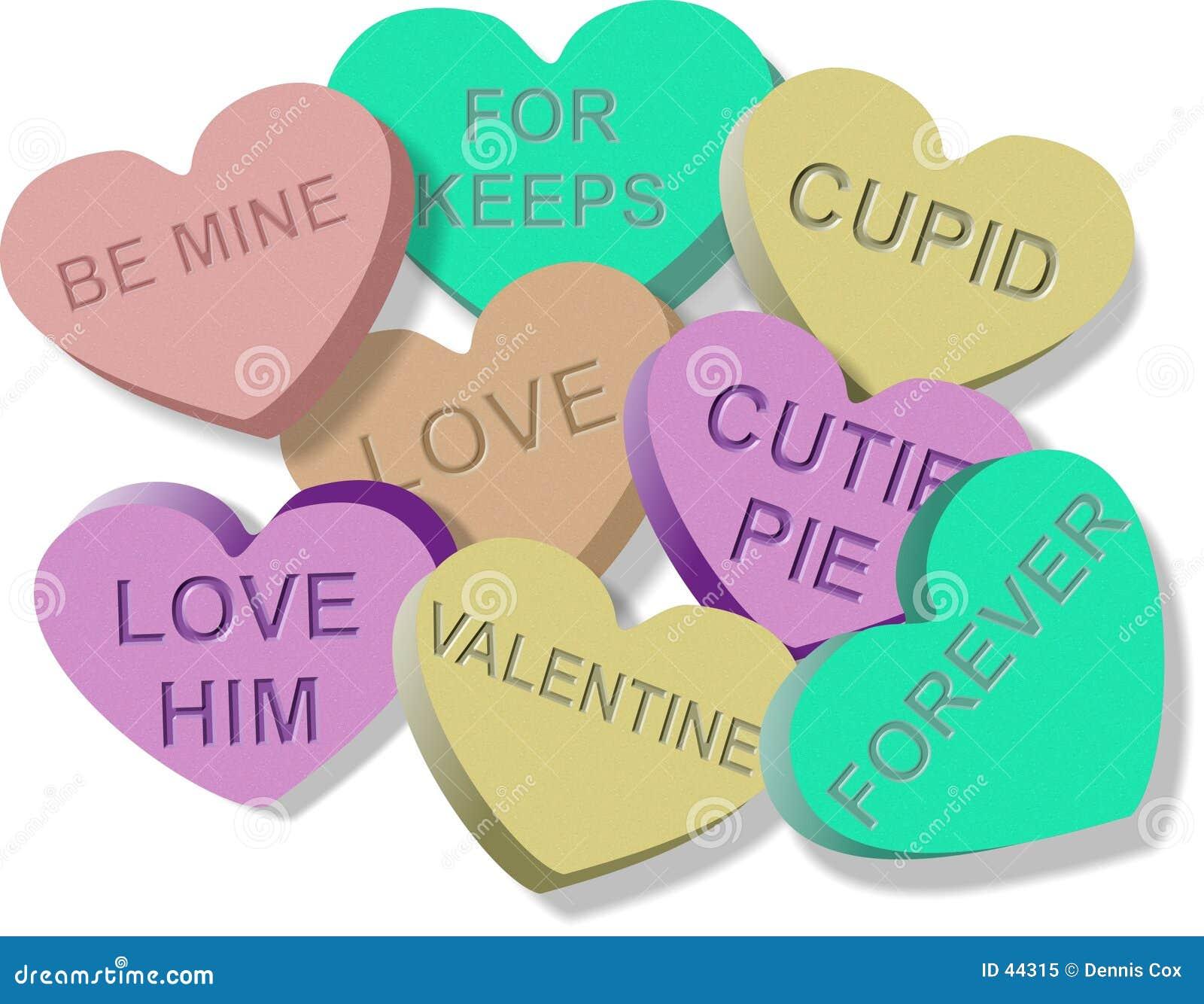 Het suikergoed van valentijnskaarten