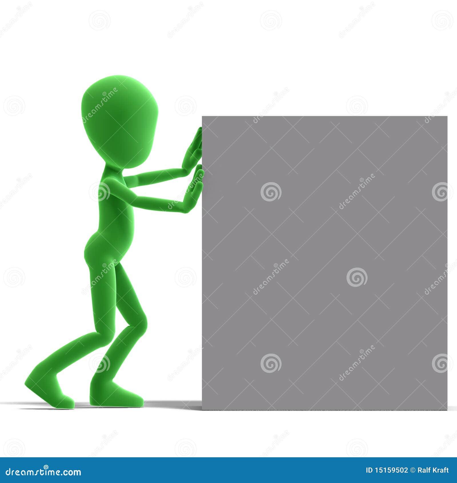 Het symbolische 3d mannelijke karakter van Toon duwt een grote doos