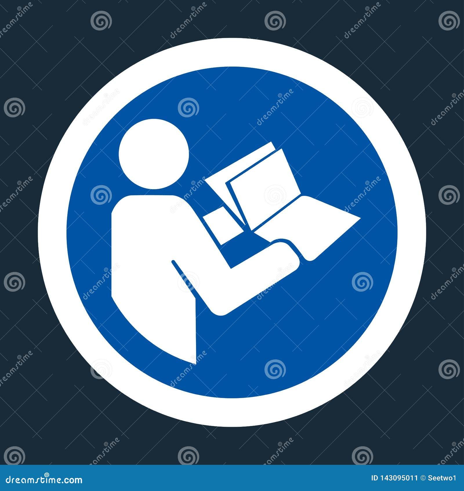 Het symbool las Technisch Handboek alvorens symbool op zwarte Achtergrond Te onderhouden