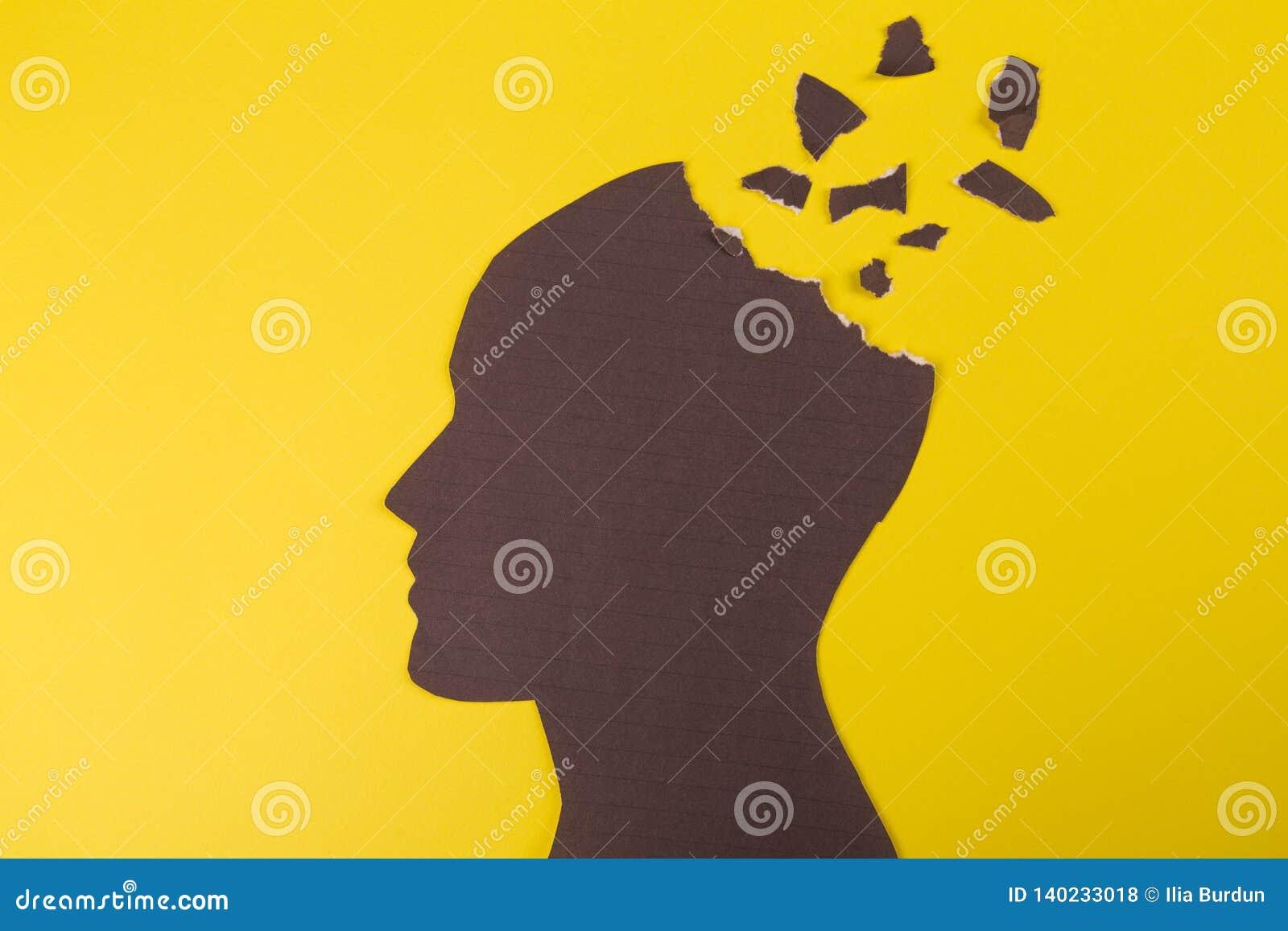 Het symbool van de hersenenwanorde dat door menselijk hoofd gemaakt wordt voorgesteld tot vormdocument Creatief idee voor de ziek