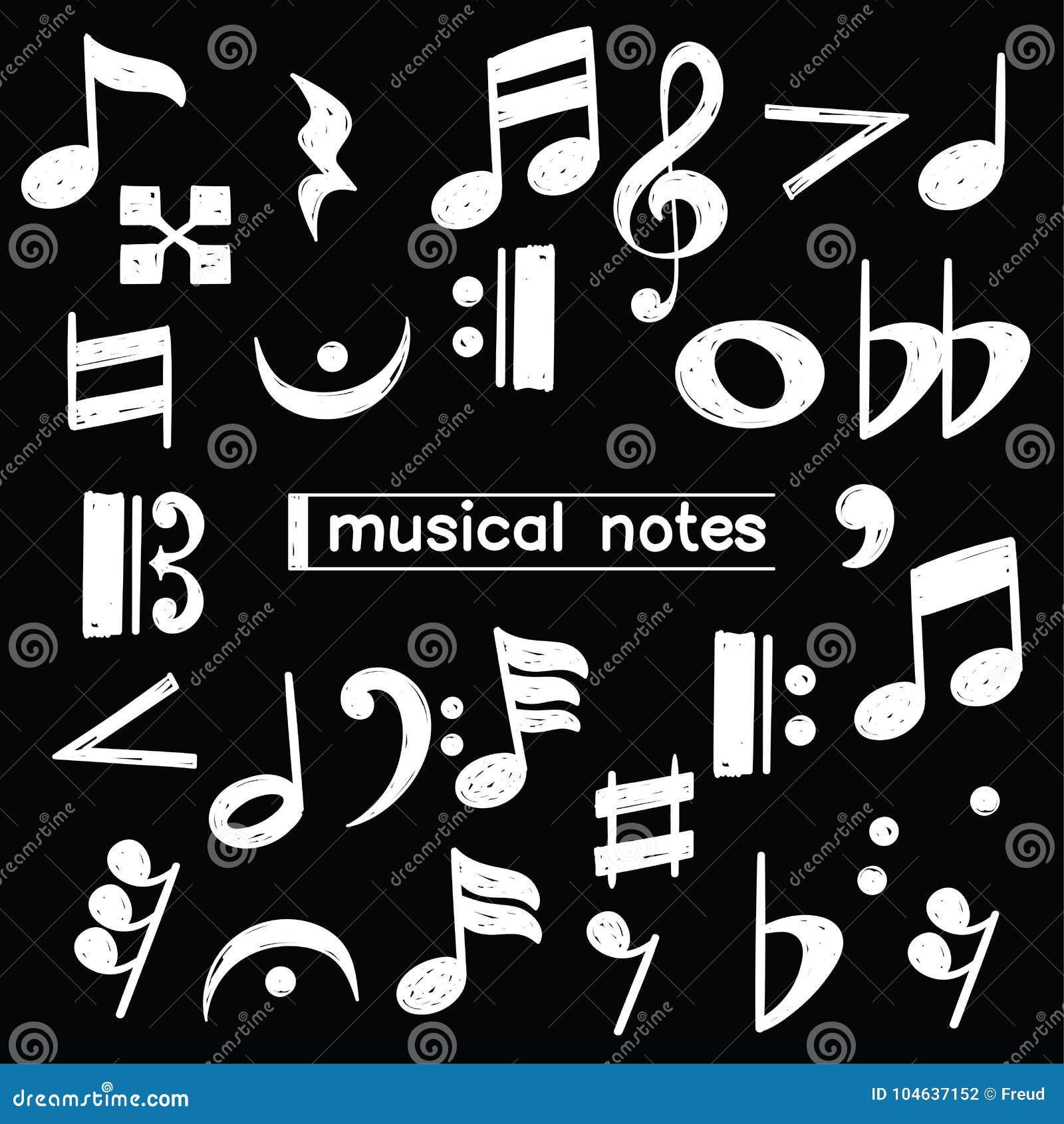Download Het Symbool Van De Krabbelmuzieknoot Over Bord Stock Illustratie - Illustratie bestaande uit grafisch, melodie: 104637152