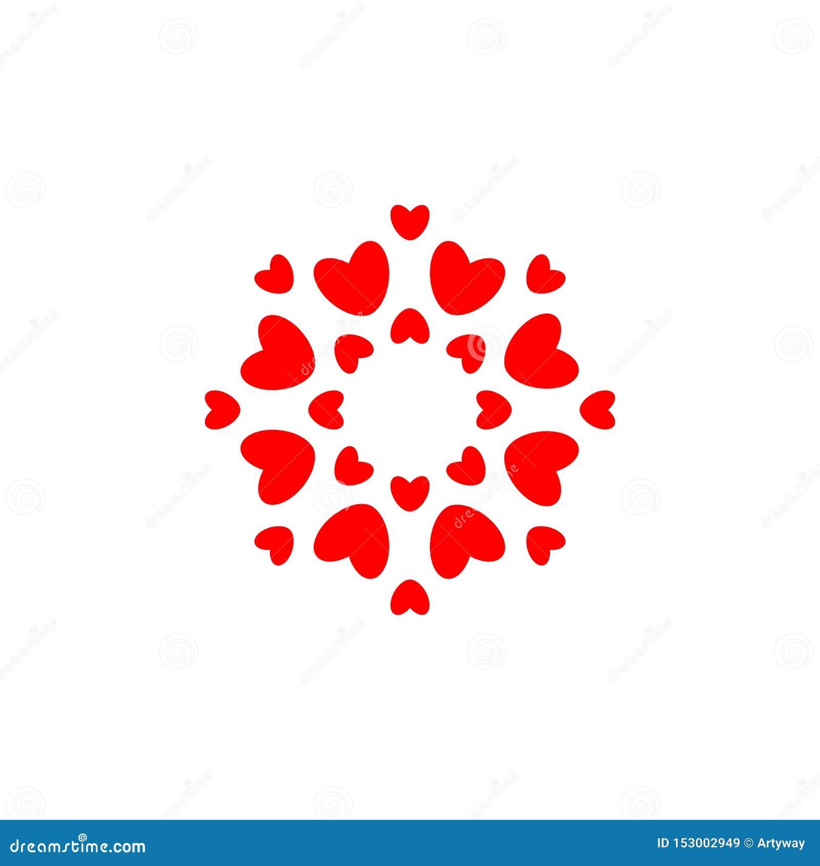 Het symbool van de liefde Rode harten in cirkel, eenvoudige elegantie om embleemmalplaatje conceptontwerp voor huwelijk en valent