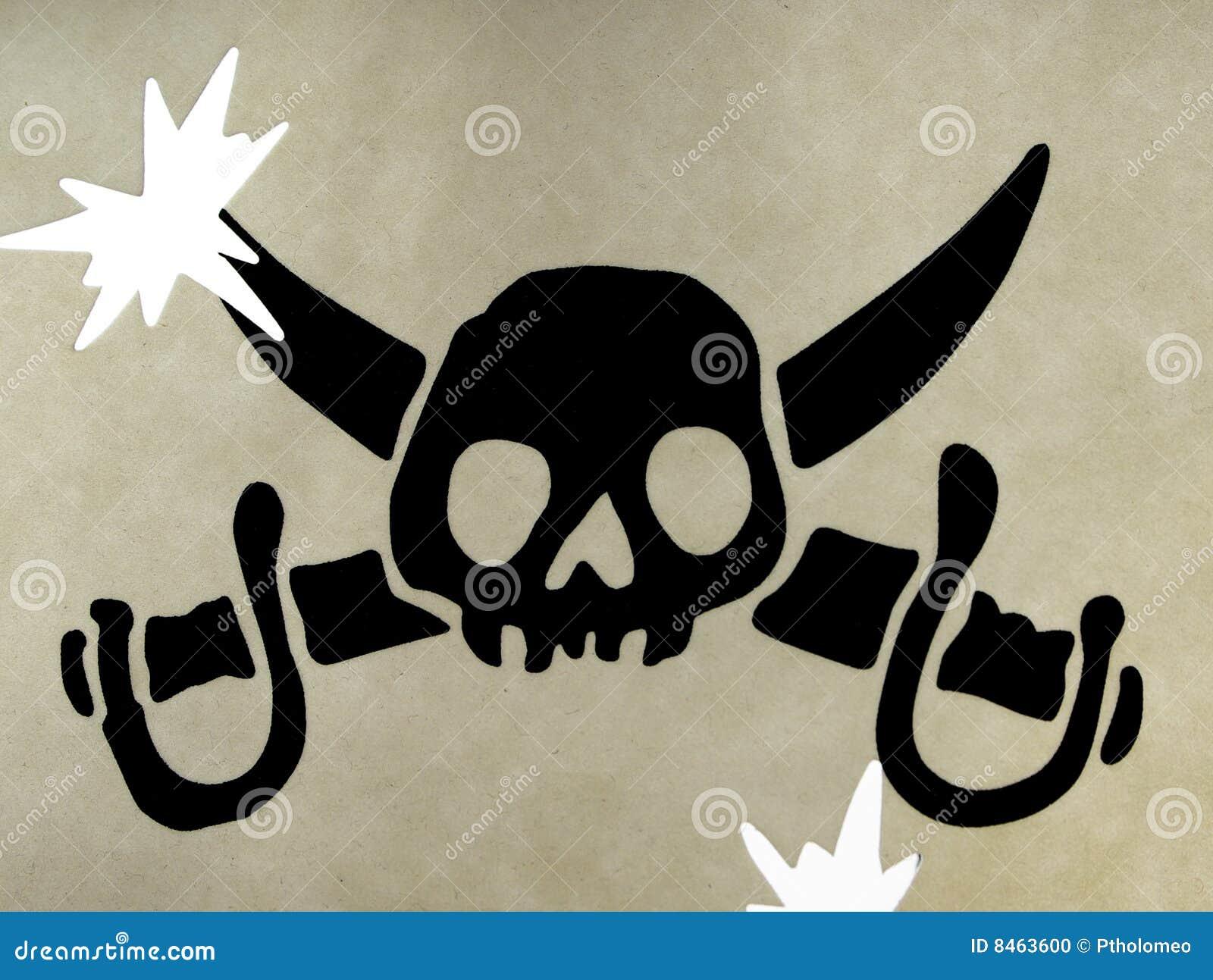 Het symbool van de schedel van piraten