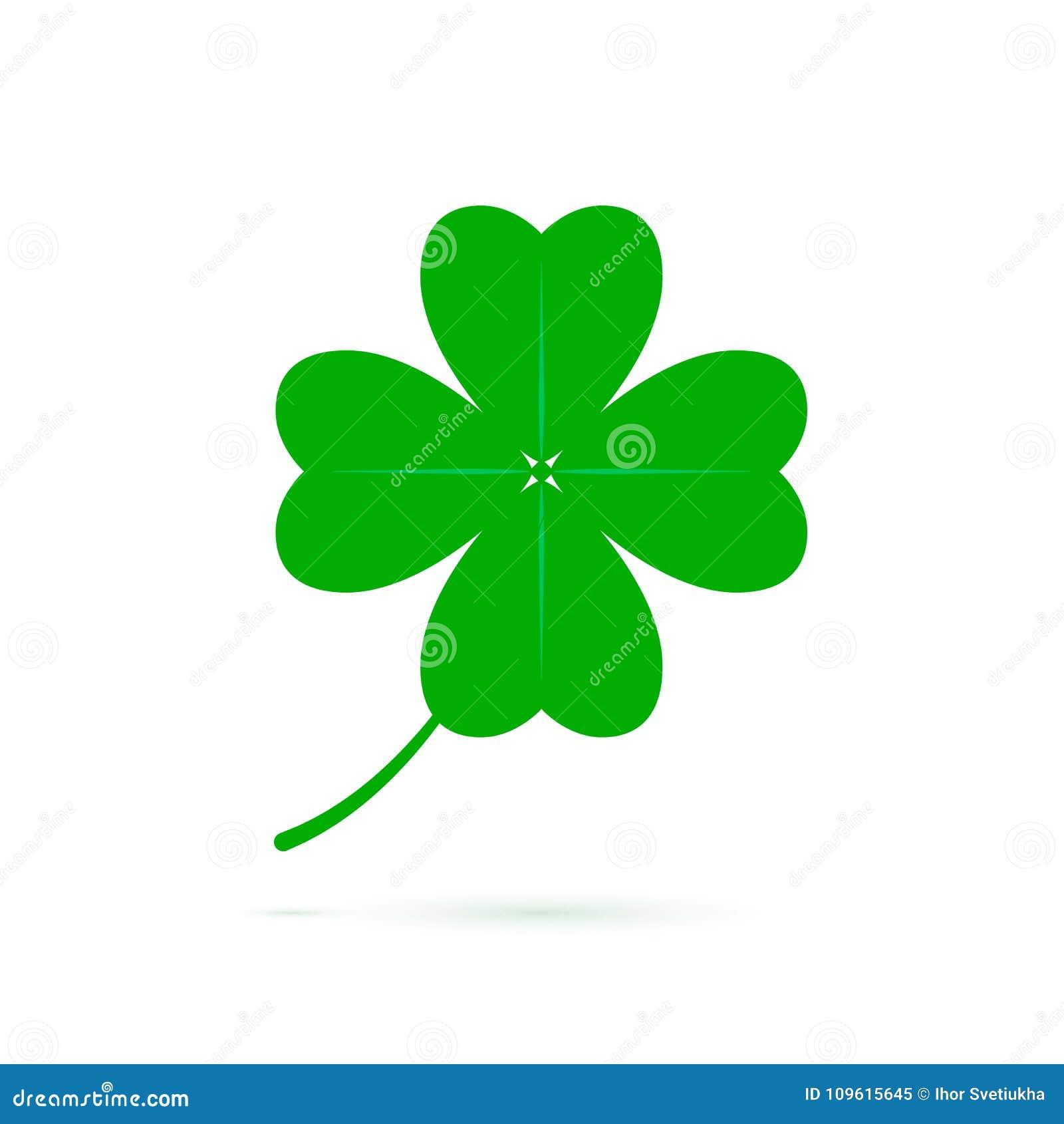 Het symbool van de vier bladklaver van geluk Groen die klaverpictogram op witte achtergrond wordt geïsoleerd Symbool van St Patri
