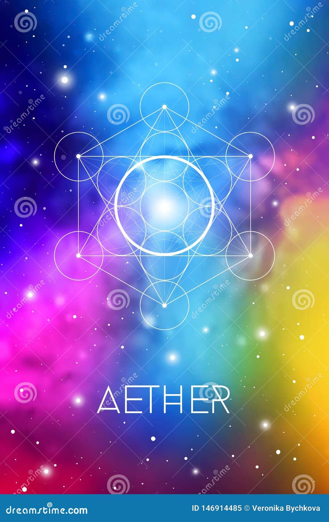 Het symbool van het geestelement binnen Metatron-Kubus en Bloem van het Leven voor kosmische ruimte kosmische achtergrond Aether