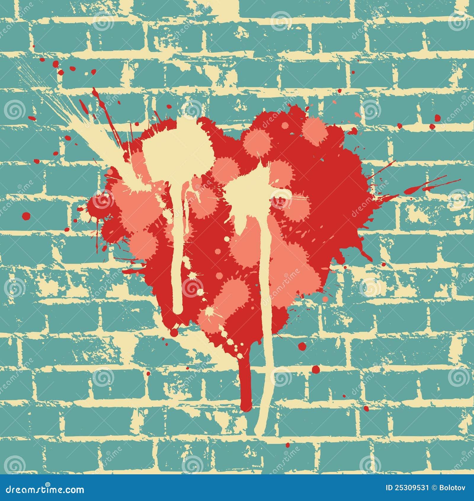 Het symbool van het hart op bakstenen muur