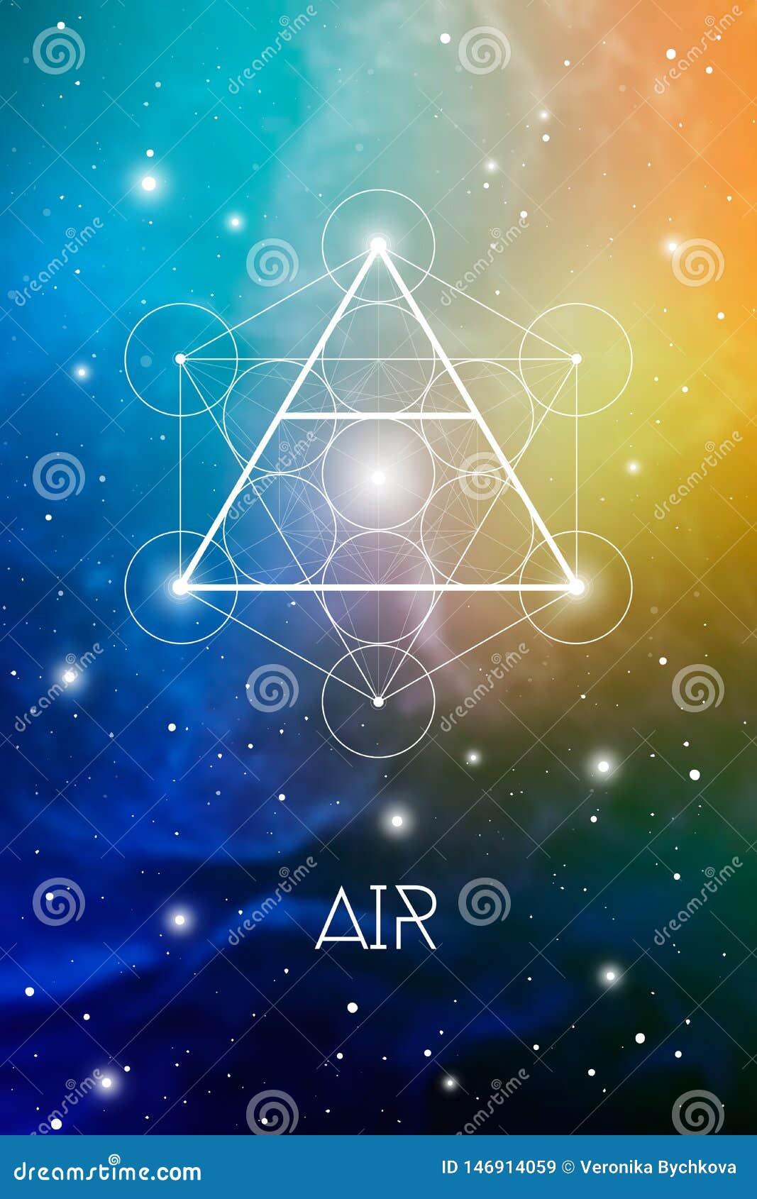Het symbool van het luchtelement binnen Metatron-Kubus en Bloem van het Leven voor kosmische ruimte kosmische achtergrond Heilige