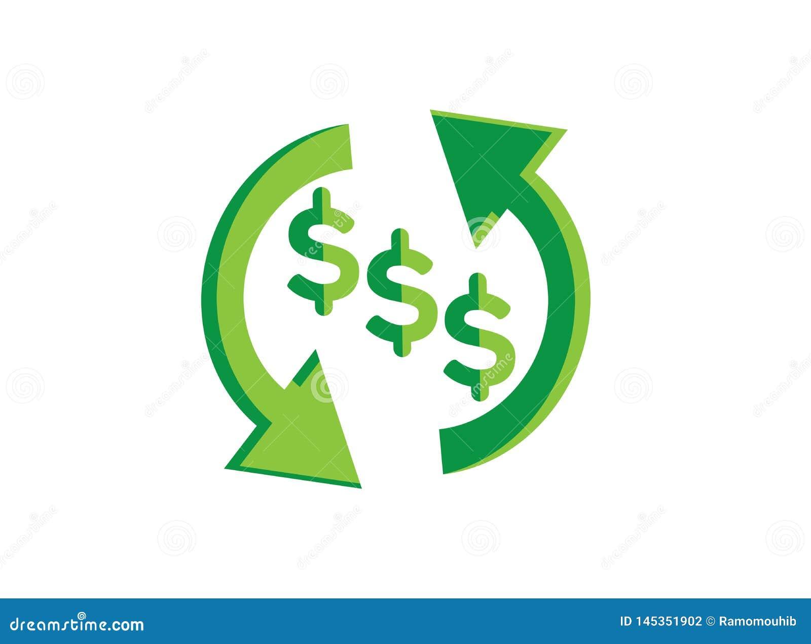 Het symboolinvestering van de geldverandering voor de illustrator van het embleemontwerp, uitwisselingspictogram