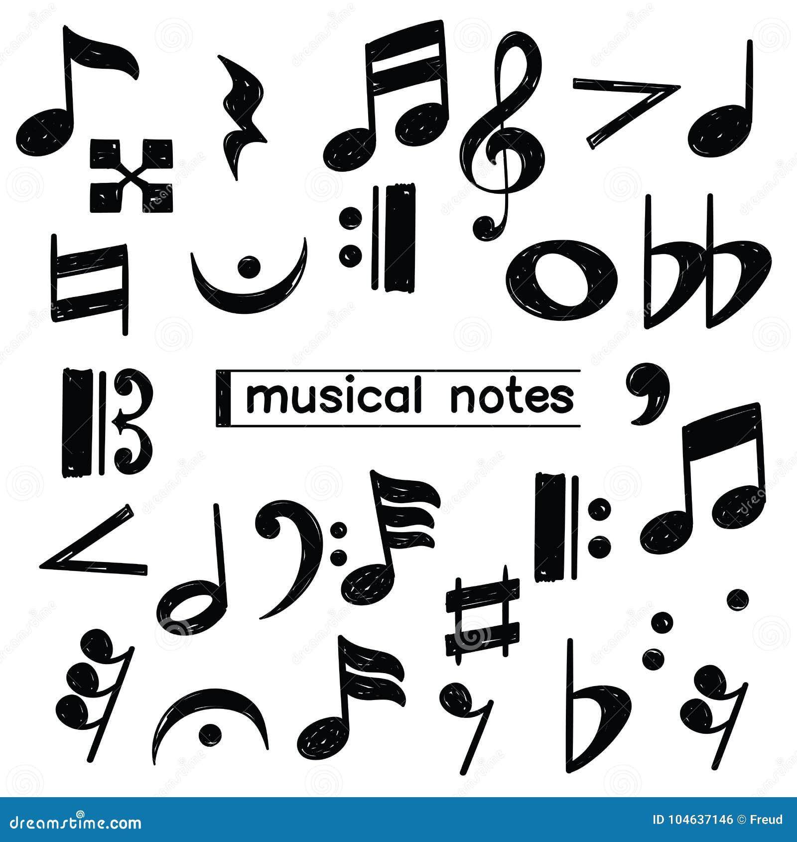 Download Het Symboolschets Van De Krabbelmuzieknoot Stock Illustratie - Illustratie bestaande uit creatief, lijn: 104637146
