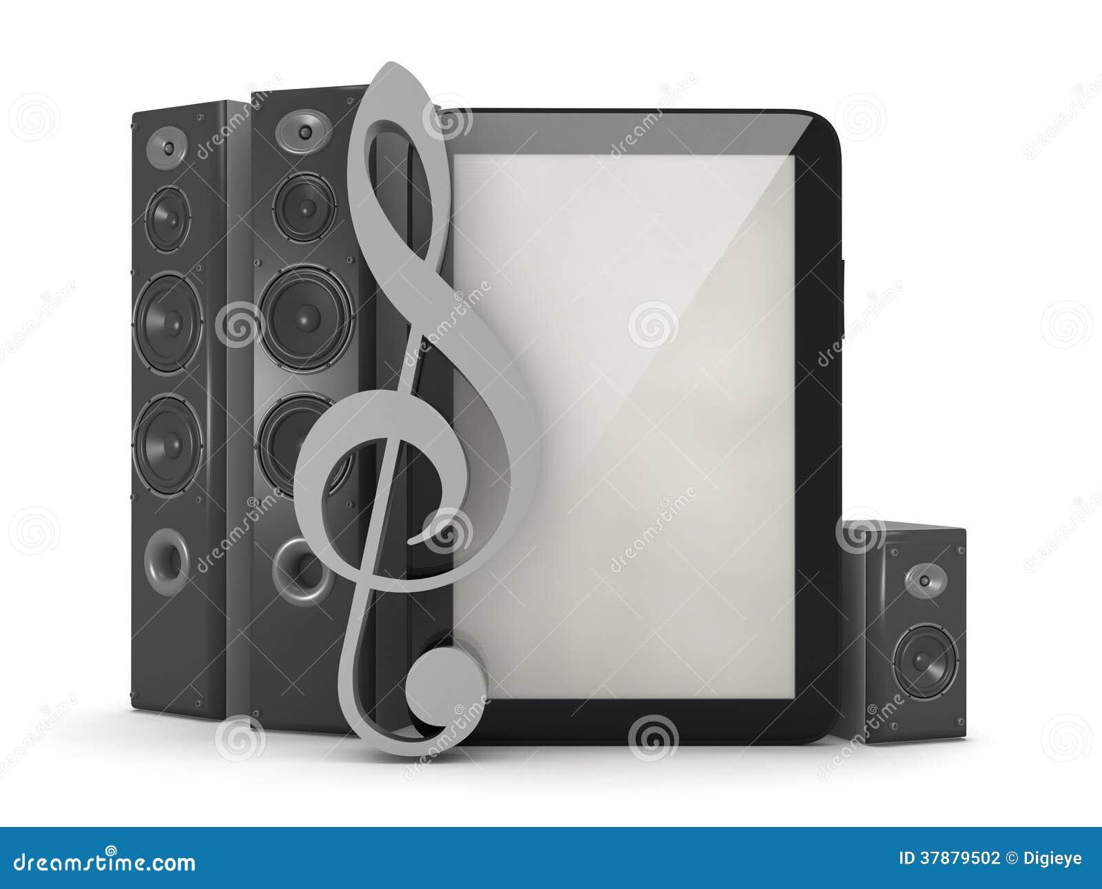 Het systeem van het huistheater, tabletcomputer en sleutel