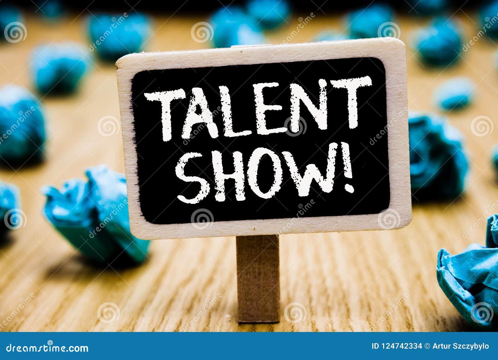 Het Talent van de handschrifttekst toont Het concept die de Concurrentie van entertainers betekenen toont het gieten van hun verf