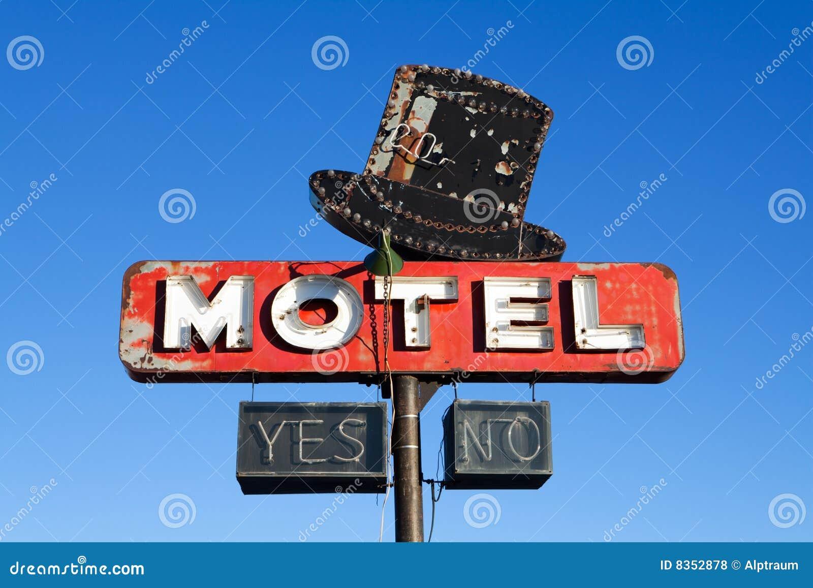 Het teken retro stijl van het motel