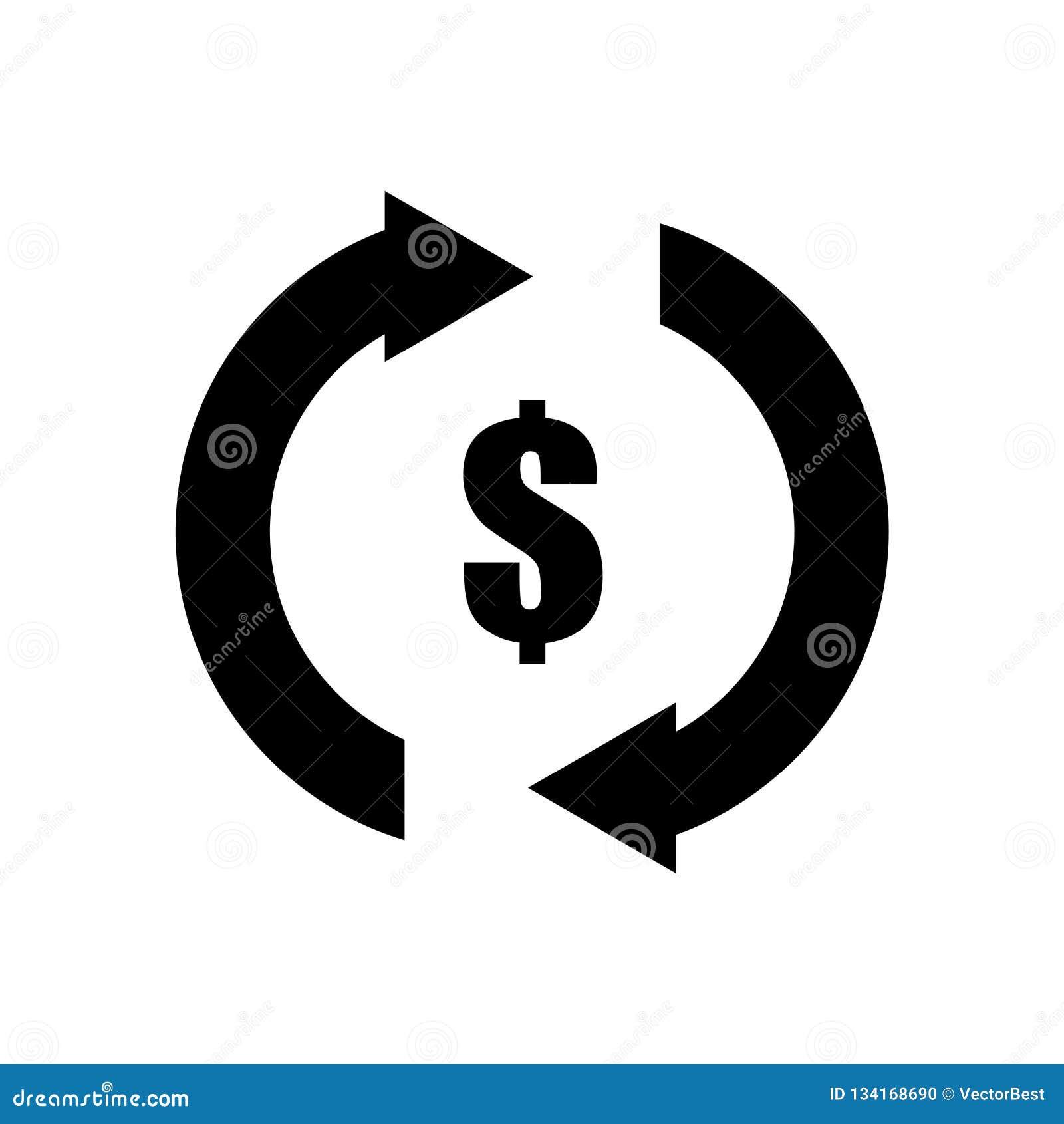 Het teken van de dollarmunt in het pictogram vectordieteken van de pijlen linksdraaiend cirkel en symbool op witte achtergrond, D