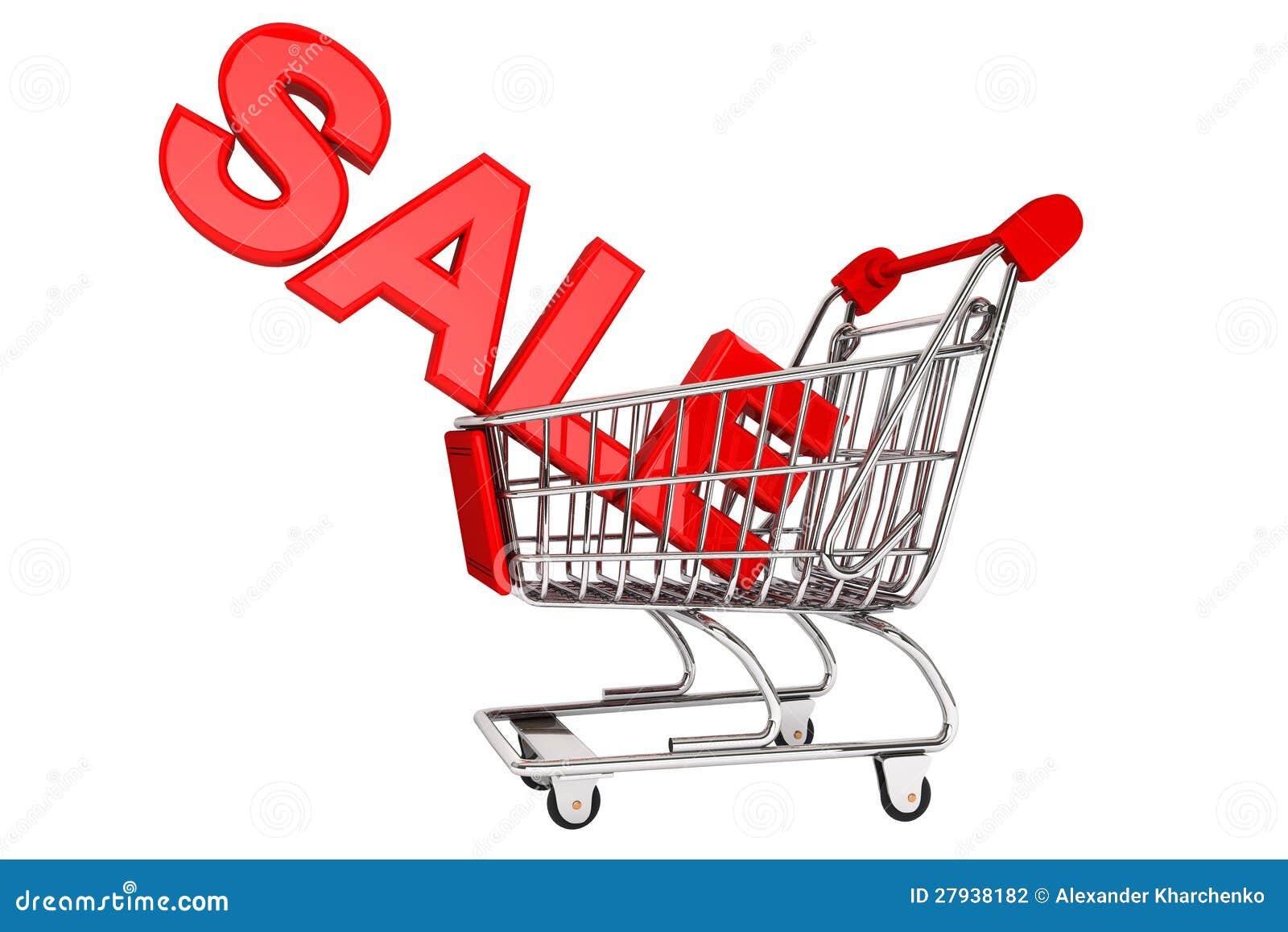 Het teken van de verkoop in karretje stock fotografie beeld 27938182 - Zinkt de verkoop ...