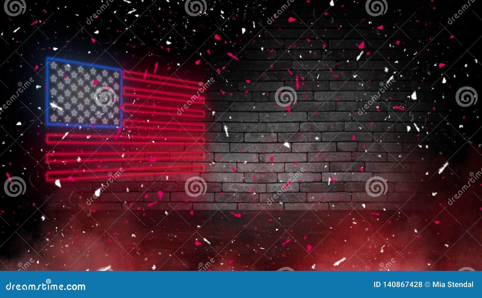 Het teken van het de vlagneon van de V.S. Dag de V.S. Feestelijke achtergrond