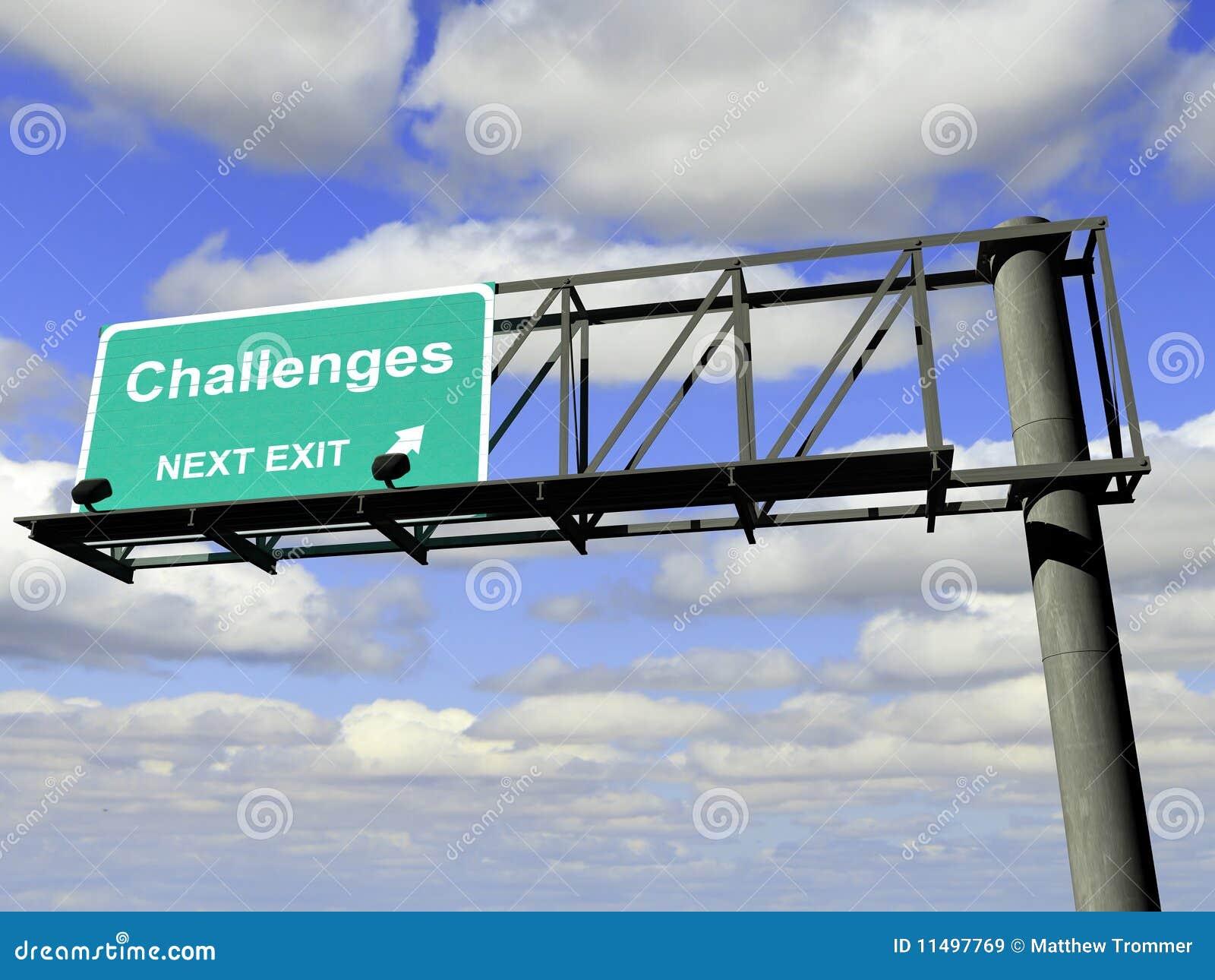 Het Teken van de Weg van de Uitgang van uitdagingen