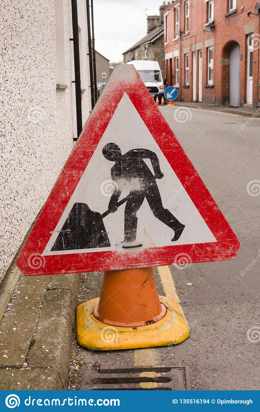 Het teken van de wegwerken