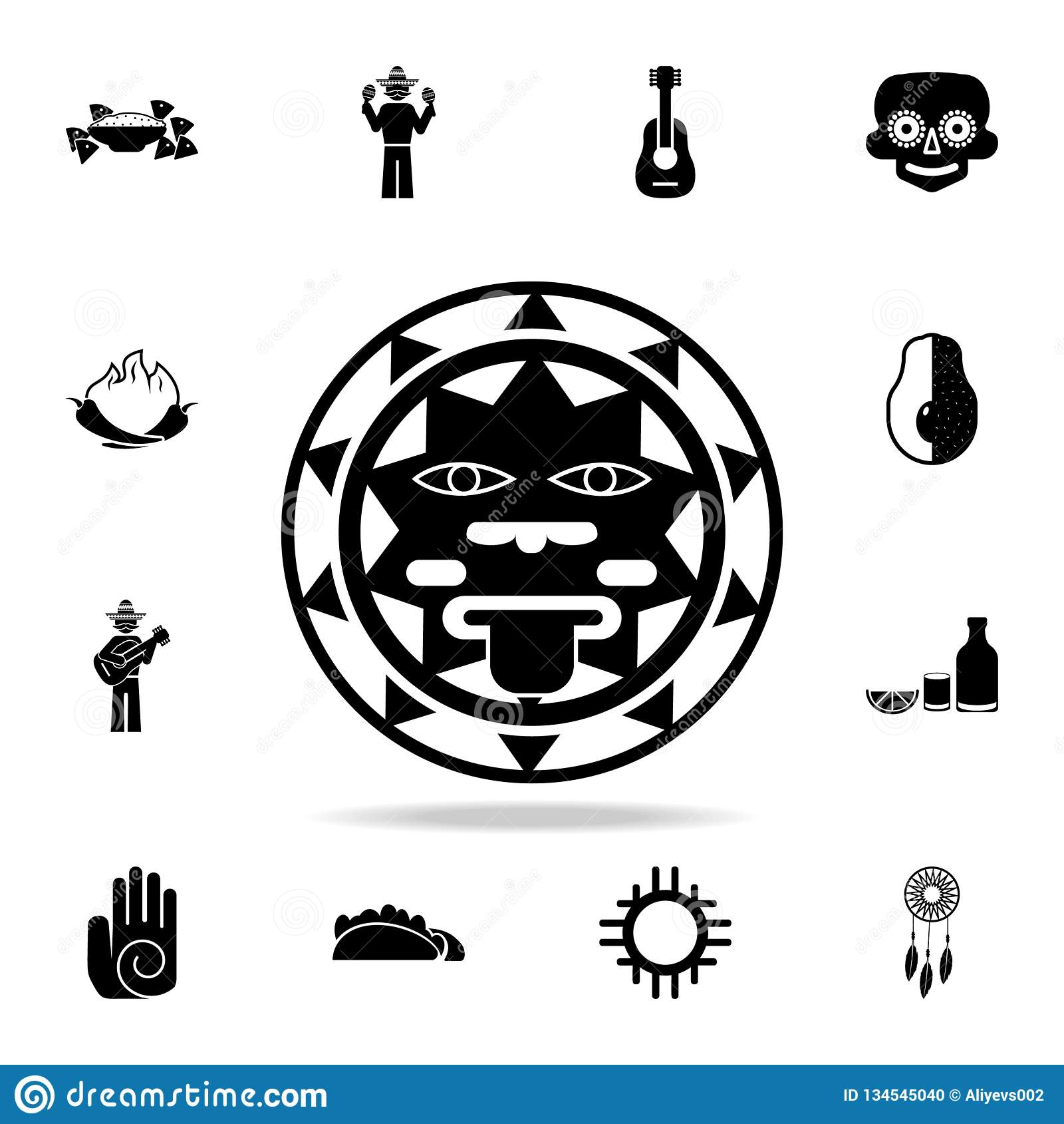 Het teken van de zon van het pictogram van Mexico Gedetailleerde reeks de cultuurpictogrammen van elementenmexico Premie grafisch
